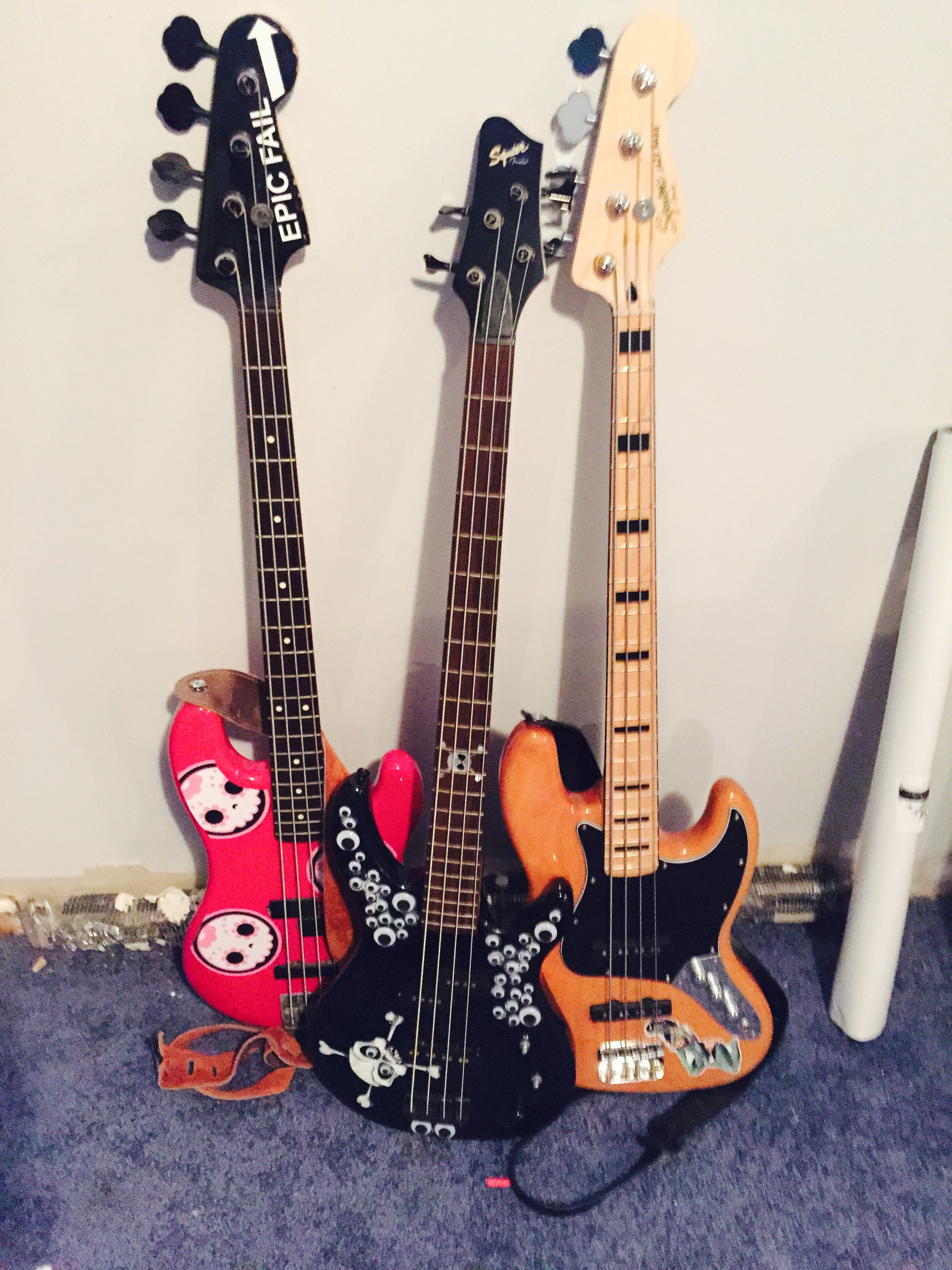 "If you are lacking in the instrument department I have a few. From left to right ""Boo Boo Kitty F@&k"" (formerly Doink), ""Google"" and ""Woody"""