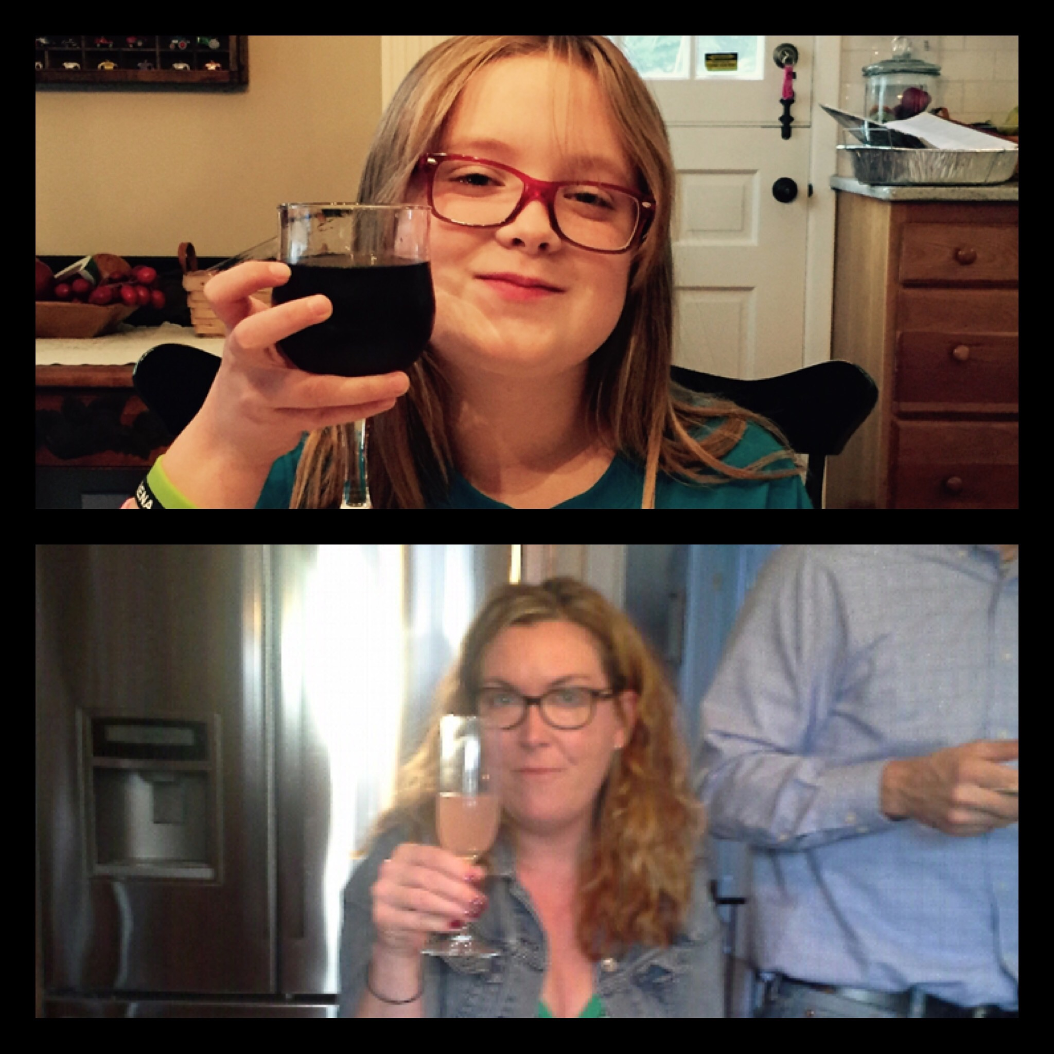 """Sent this to my cousin cause Zoey said """"I feel like Auntie with this glass"""" and she sent this right back. Ahh to celebrate by technology"""