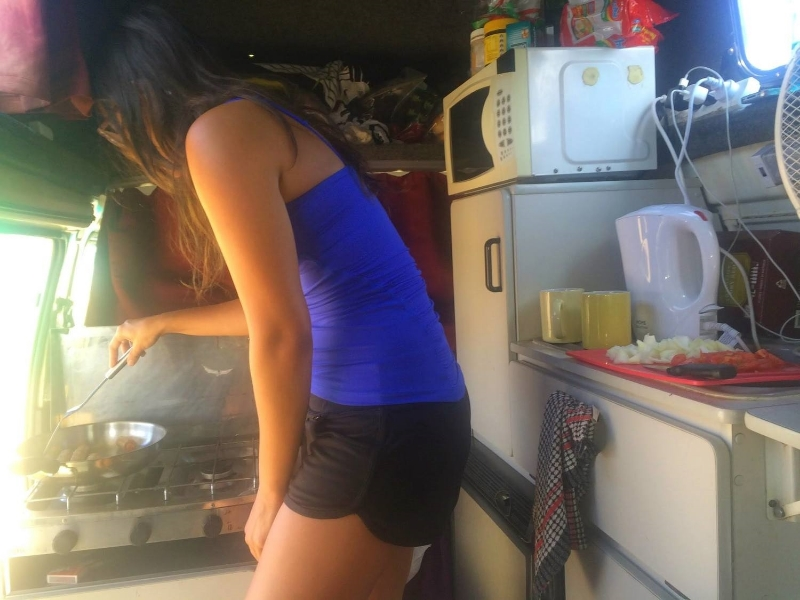 Cooking breakfast in the camper.                                                      Photo Credit: Cody Davis