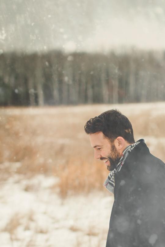 Daniel Alkato smiling snowflakes winter time
