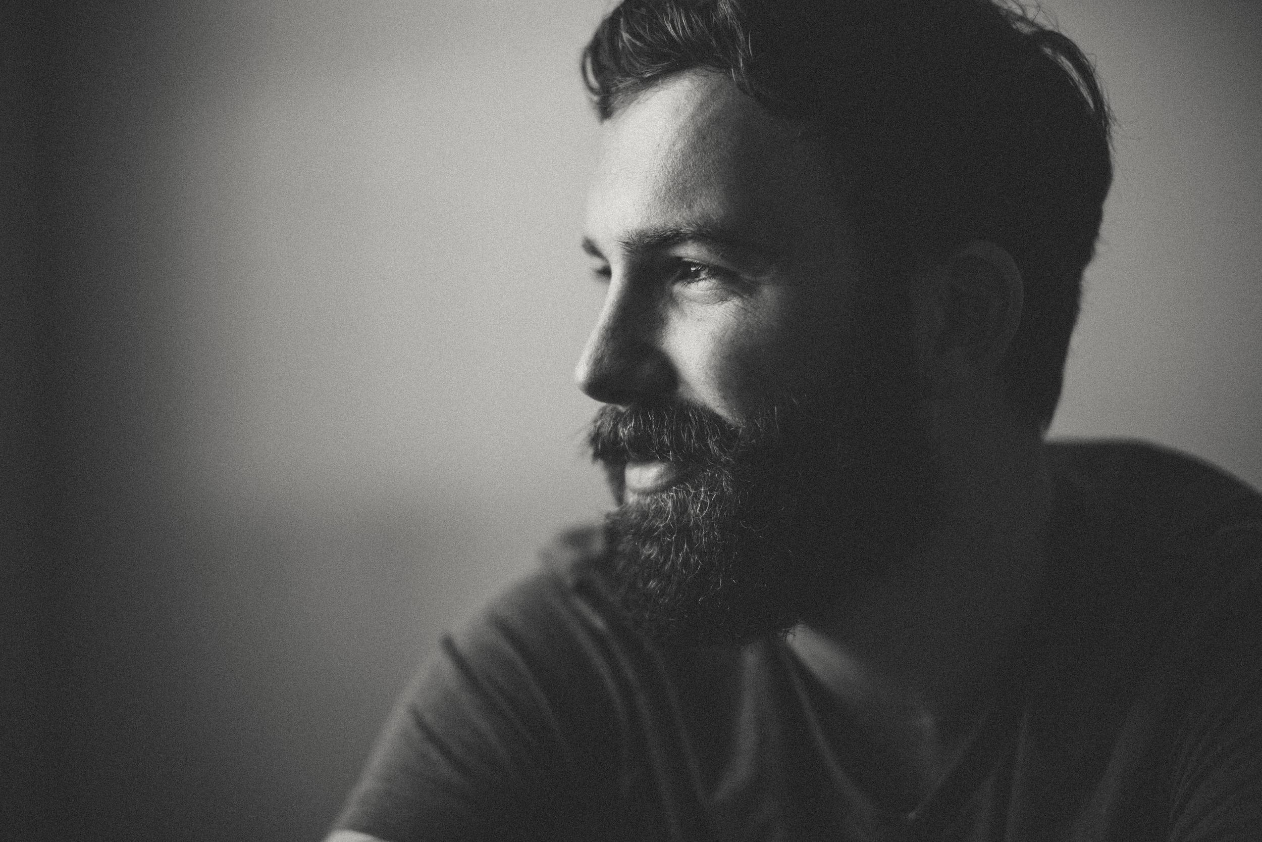 Daniel Alkato Smiling beard Black and White