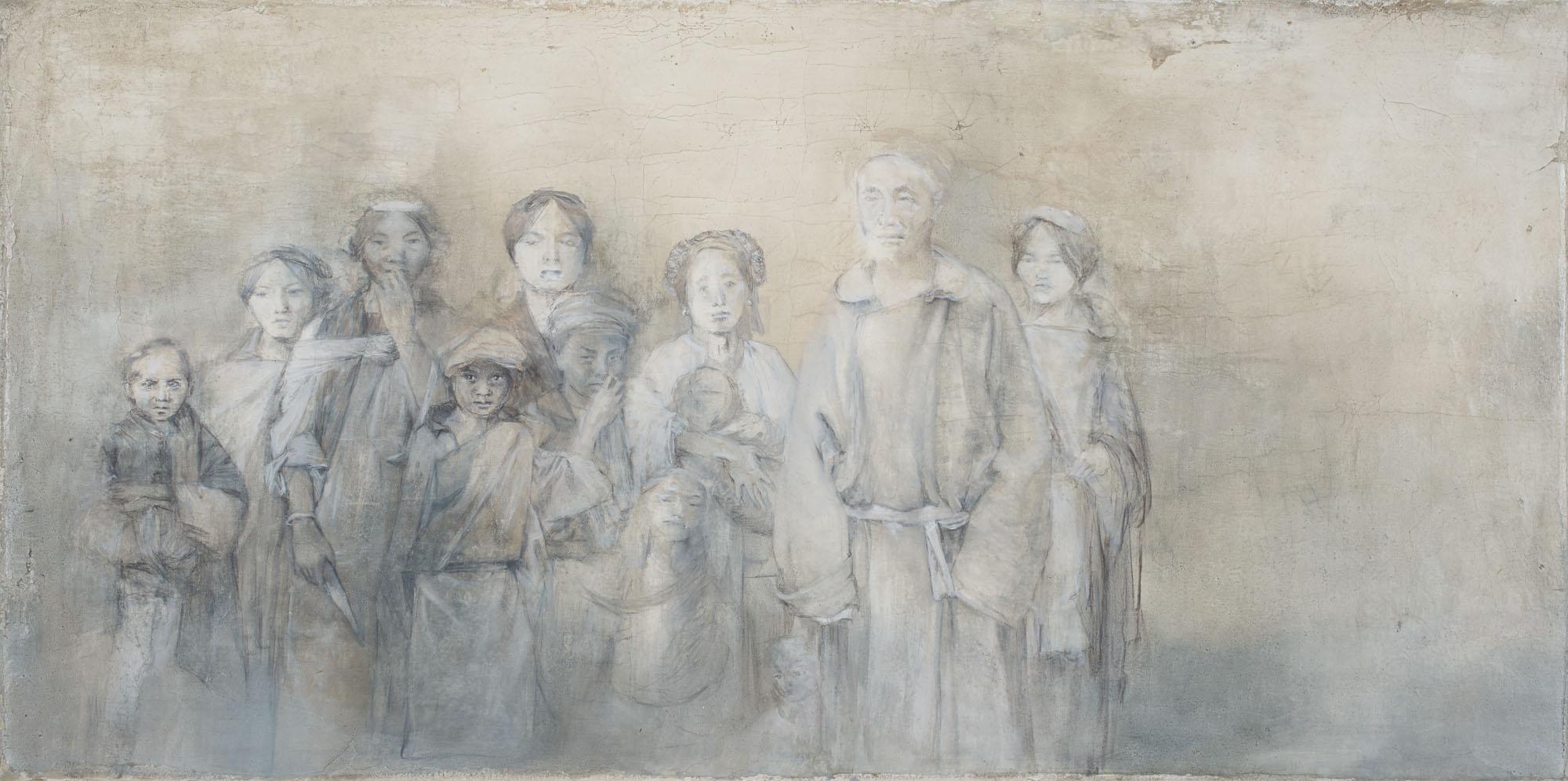 Family , Oil and graphite on Fresco Plaster. 2015