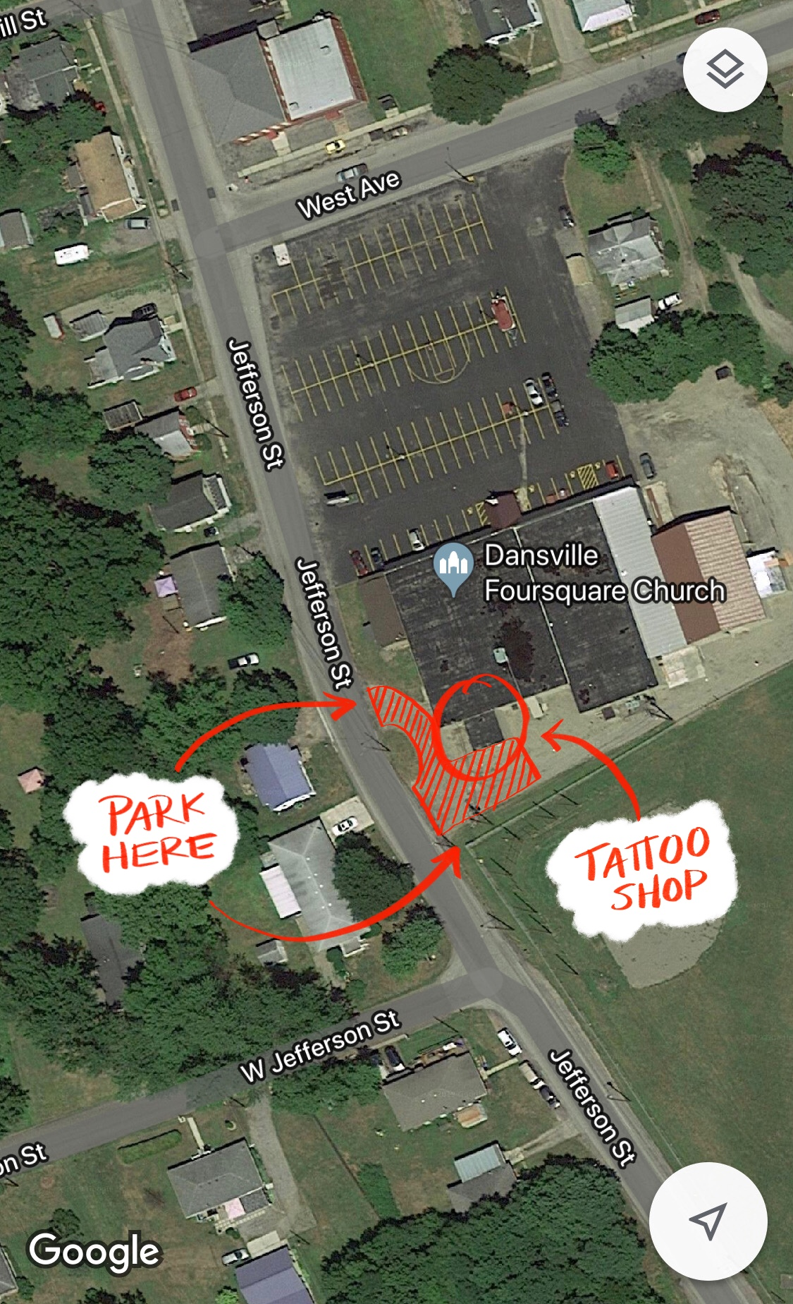 Shop Location - - I share an address with Dansville Foursquare Church -49 West Ave. Dansville, NY 14437- Entrance off of Jefferson St. -