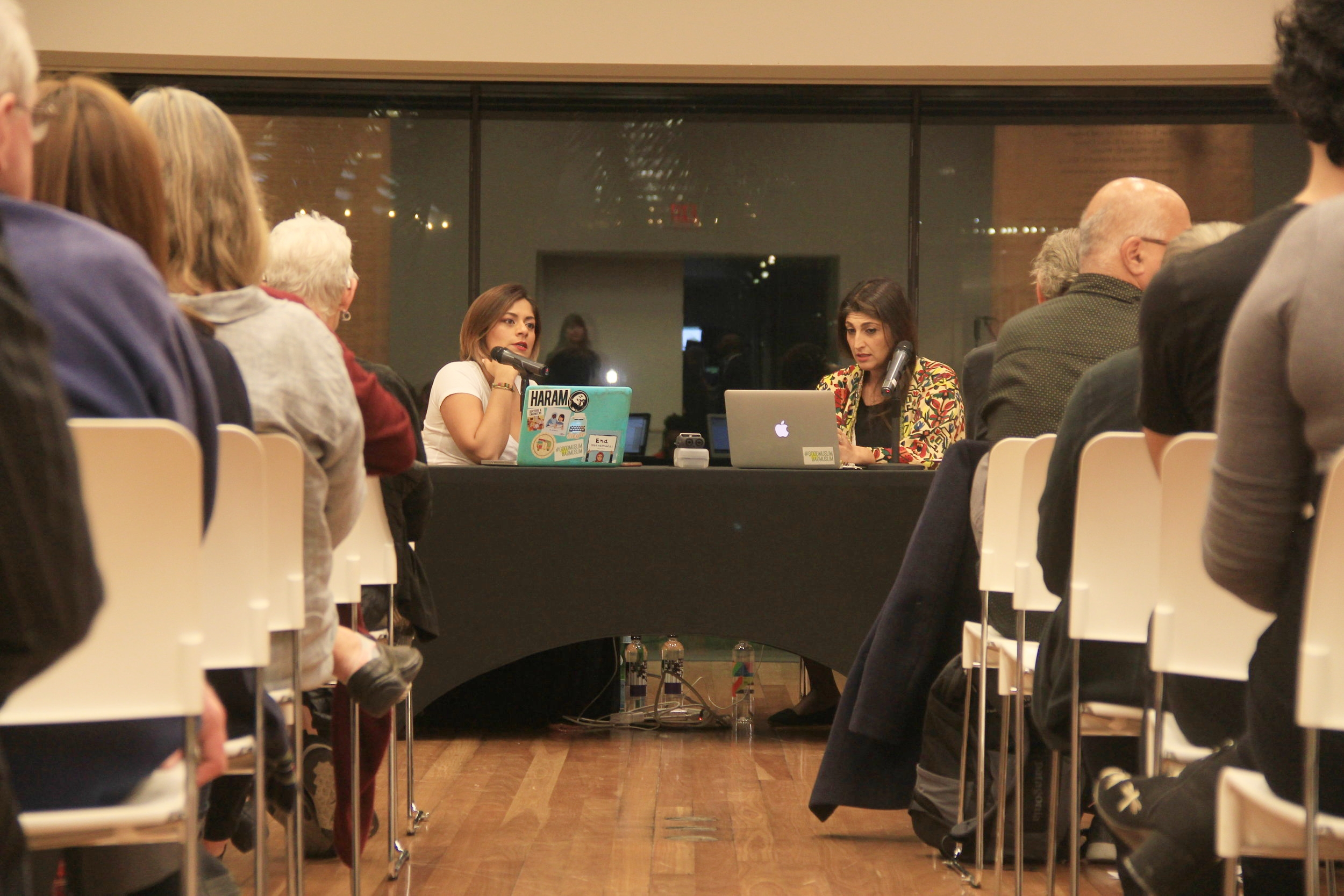 Taz and Zahra speaking at de Young Museum.