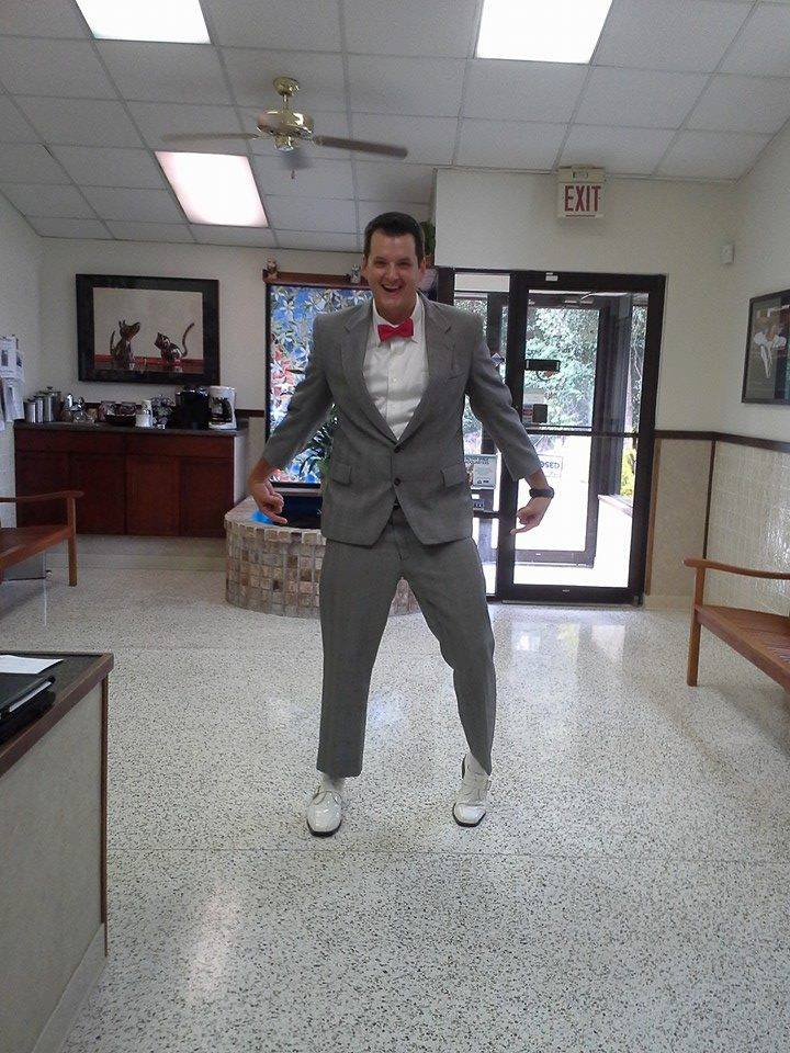 Our Merial rep, Scott, is in the spirit!  PeeWee!