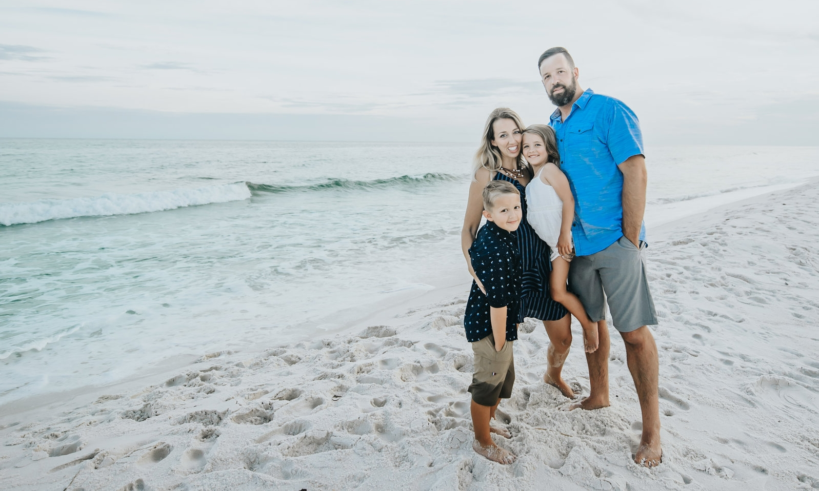 April with her husband Nathan, son JD, and daughter Marilyn, enjoying beautiful Pensacola Beach.