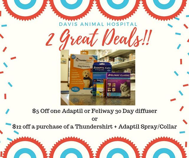 Save your pet's from being stressed! 🎆🎉2 Day 4th of July Special!🥳🐾 Mention this ad and get a: $5 off a 30 day Adaptil Diffuser or FELIWAY Diffuser or $12 off a purchase of a Thundershirt + Adaptil Spray/Adaptil Collar. (Special ends the end of work day on 7/3/19) ~Elishia