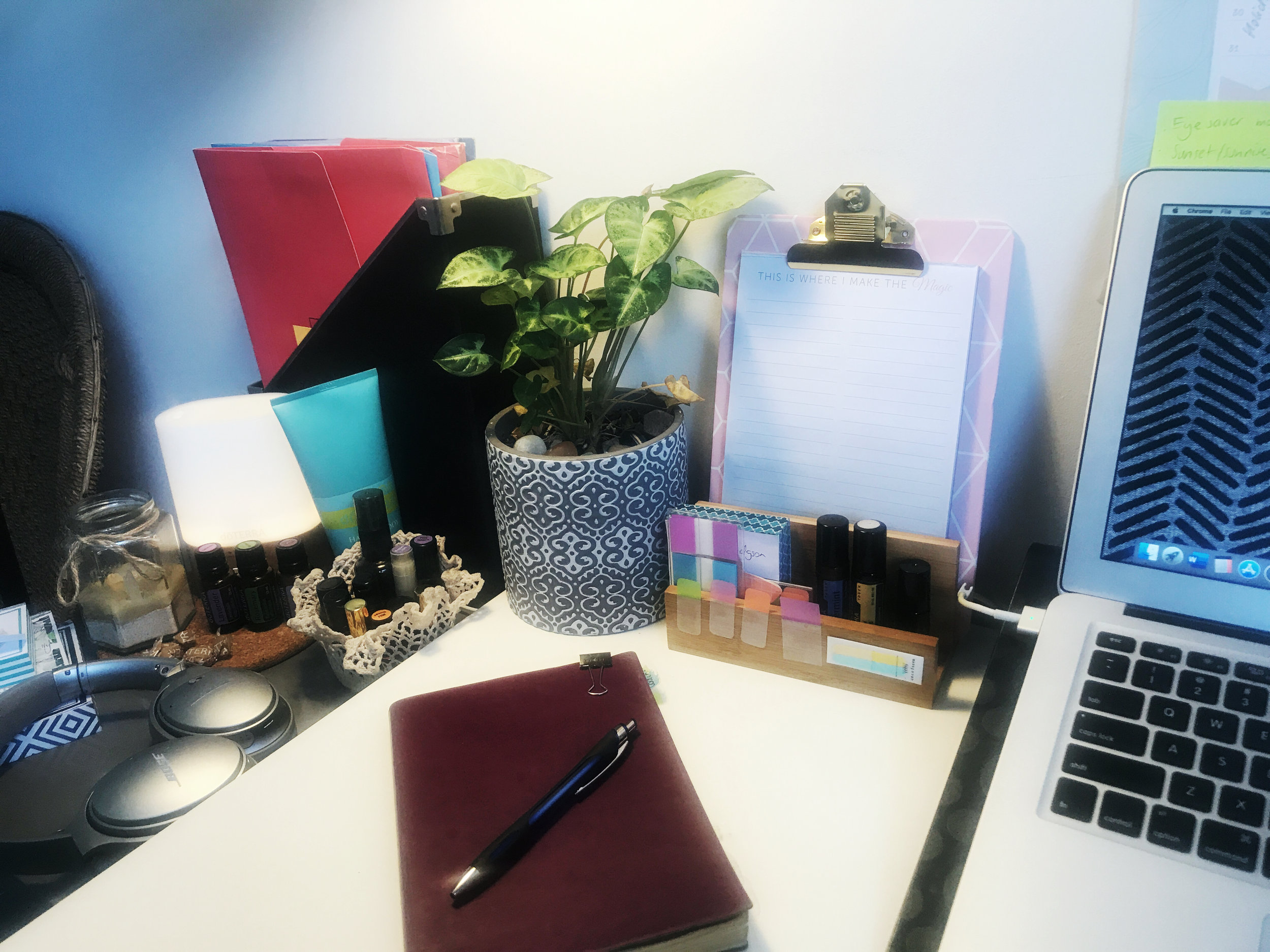 My little workspace ~ always with a plant and oils diffusing.