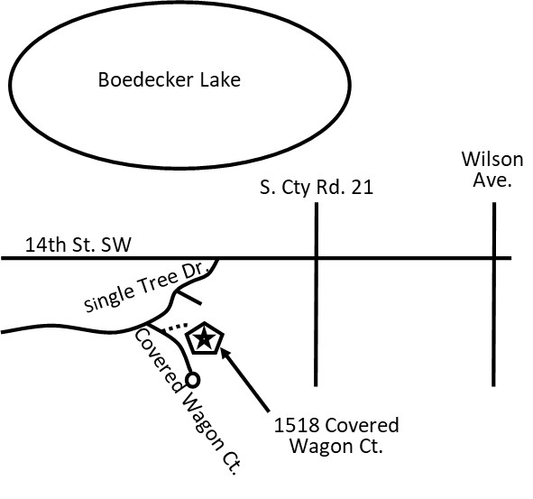For BBQ Contestants ONLY:   Please park in back of the 1518 Covered Wagon address .  To get there, instead of turning onto Single Tree into Prairie Trails subdivision, turn on the gravel drive immediately (only 10 feet max) to the east of the road. Continue on the gravel road up to the top of the hill and park as indicated behind the event property.  This will allow easy access to the event so you don't have a long way to walk and carry food and equipment.