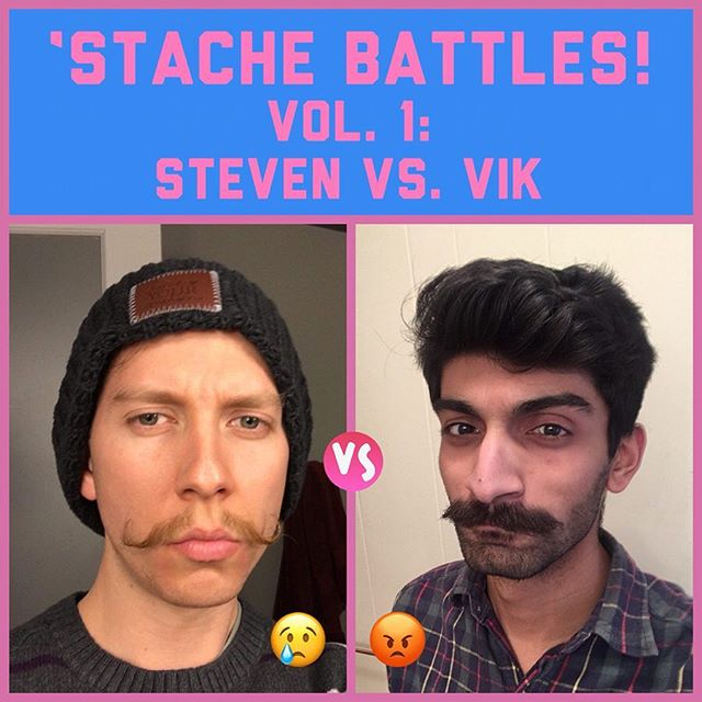 WASSUP Y'ALL WE GOT A MUTHALOVIN' #STACHEBATTLE IN DA HOUSE! #SICK That's right— we need YOU to vote on whose 'stache reigns supreme, and whose shaver-favored flavor savor needs to be sent back to the trashcan its beardly brethren and fellow facial follicles were dusted into! Folks, we got a battle for the ages here... - Steve vs. Vik - Handle vs. Chev - Guitar vs. Keys - P vs. V (eyyyy— wait what!??) VOTE NOW! Comment/react: 😢 for Steve 😡 for Vik  LET'S SETTLE THIS 'STACHE BATTLE ONCE AND FOR ALL! . . . #stachebattlevolume1 #mustaches #flavorsavors #krpr #mustachestyle #handlebar #chevron #tomselleck #phteganph #viccvan #stacheparade #bandstaches #boys #summer #blur