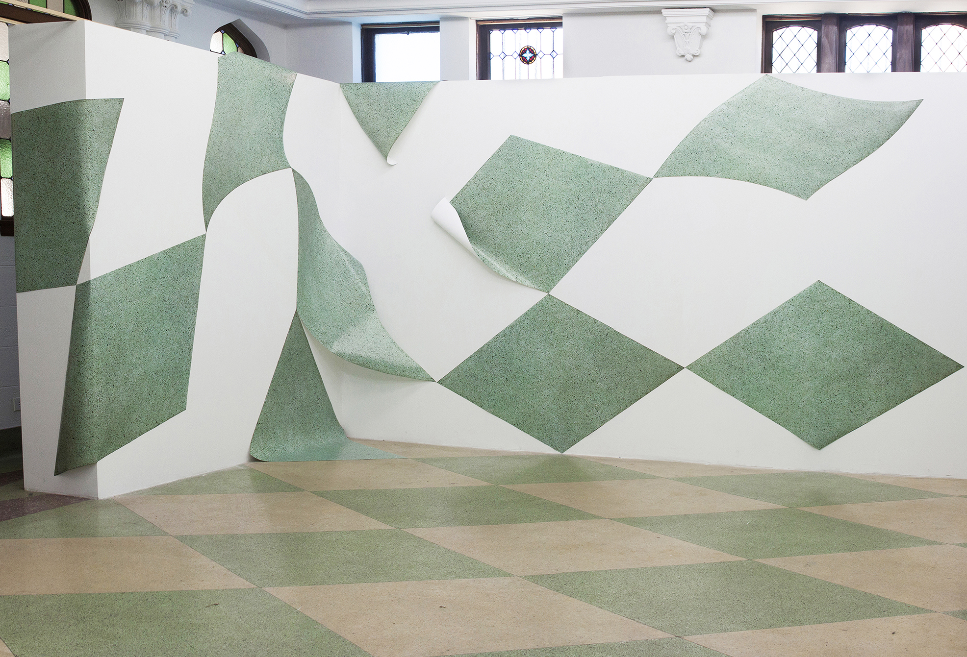 Marble, quartz, granite, glass, or other suitable materials , 2018. Temporary installation at ACRE Projects, Chicago, IL.
