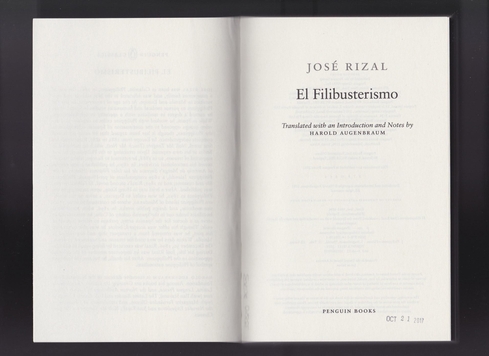 "Book Request 002: Jose Rizal, ""El Filibusterismo,""  checked in October 21, 2017."