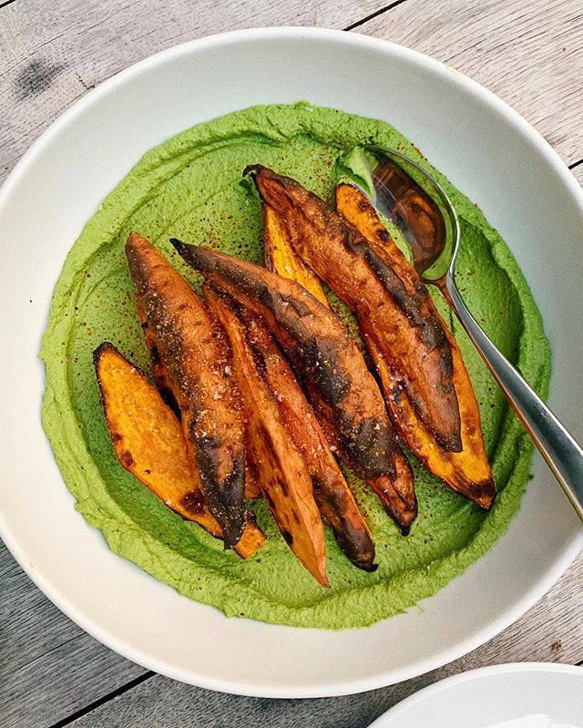 Sweet potatoes are still my favorite vegetable in case you were wondering. And pretty sure @adeenasussman's new cookbook is my favorite too. Also herby green tahini, or any tahini really #sababacookbook