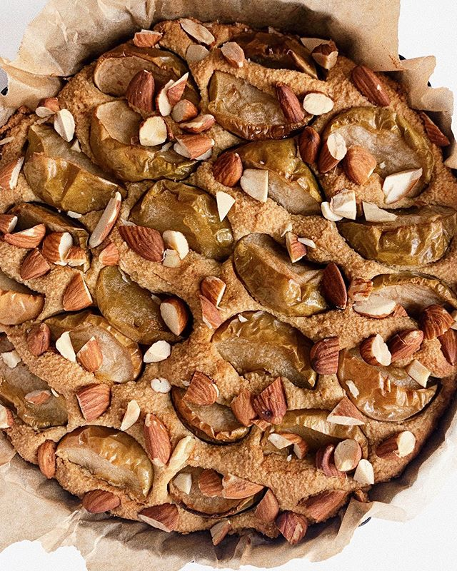 obsessed with @amychaplin's new book and this roasted apple almond cake with cardamom that we made from it #wholefoodcookingeveryday