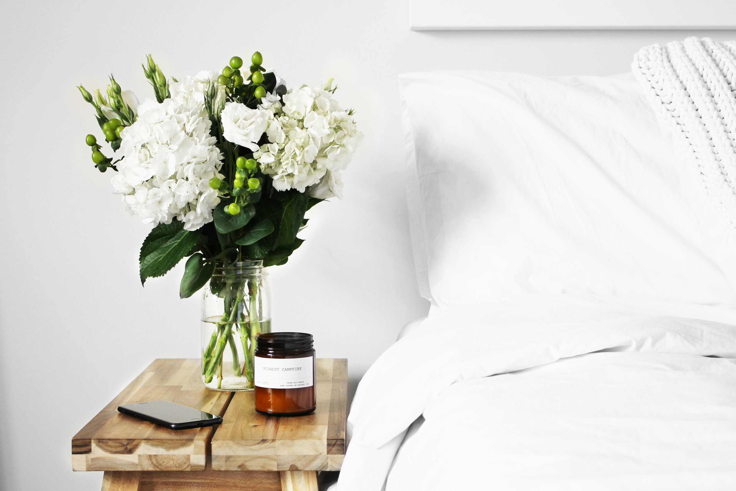 I can't decide what I love more...my new white bedding from Brooklinen or these flowers