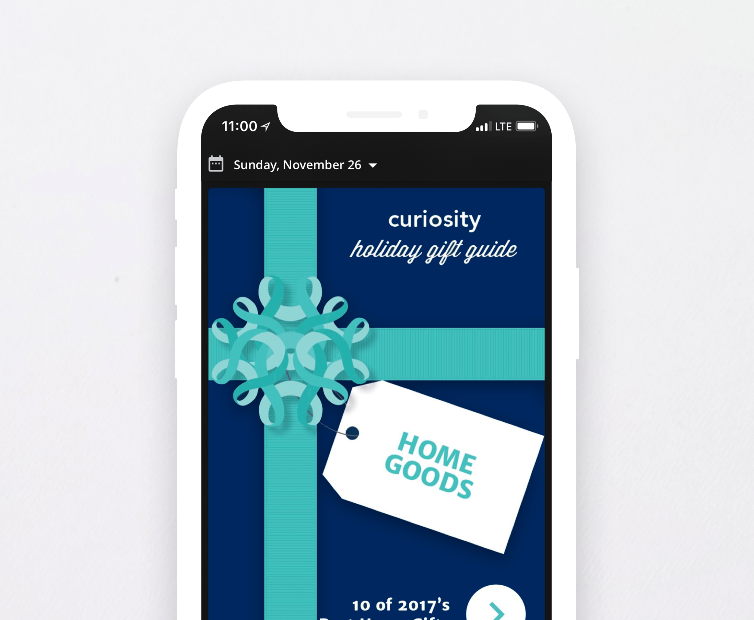 CURIOSITY HOLIDAY CAMPAIGN:  UX DESIGN CARD