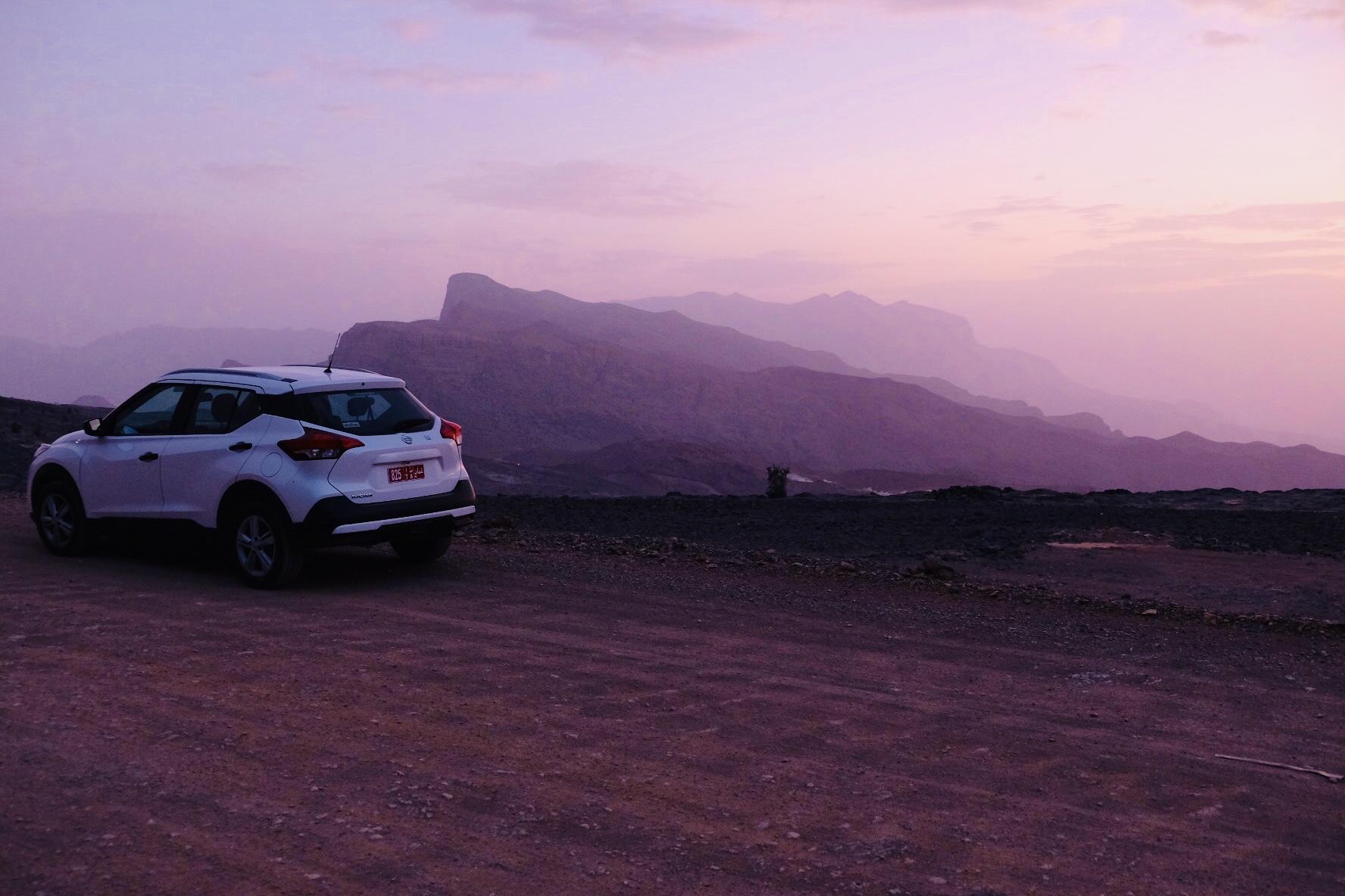 My lil' Nissan, trekking up Jebel Shams
