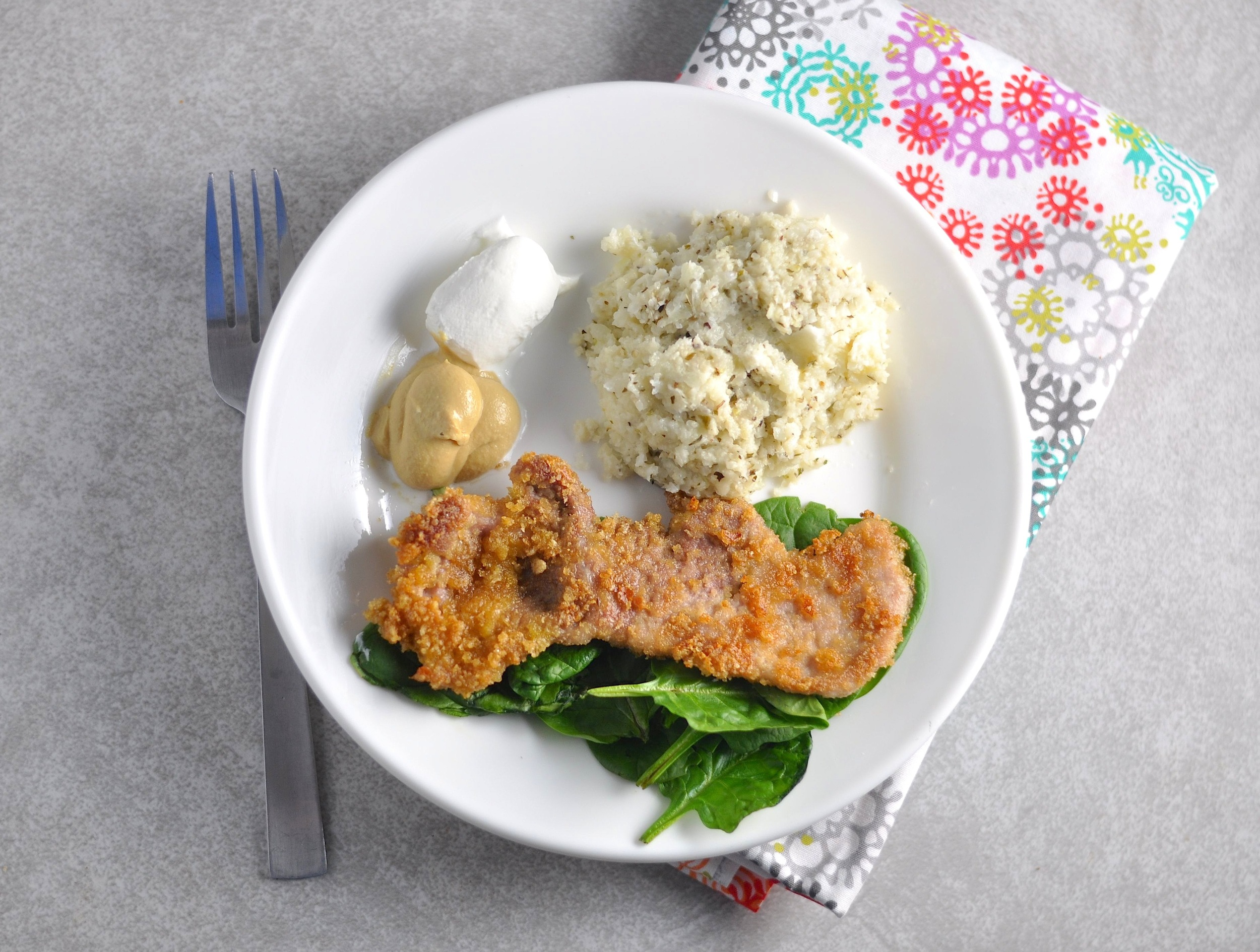 crispy pork cutlets and cauli mashed