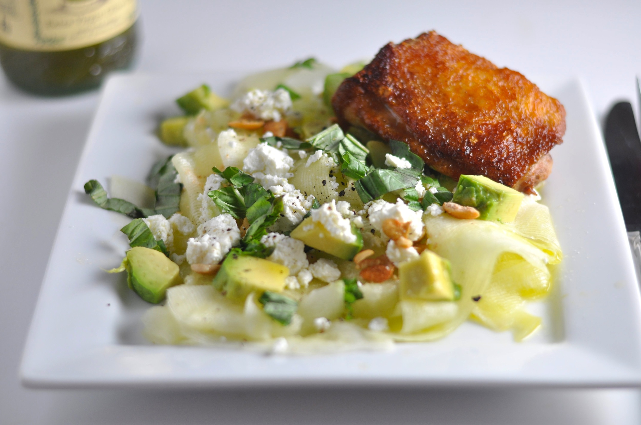 chicken thighs and zucchini ribbon salad