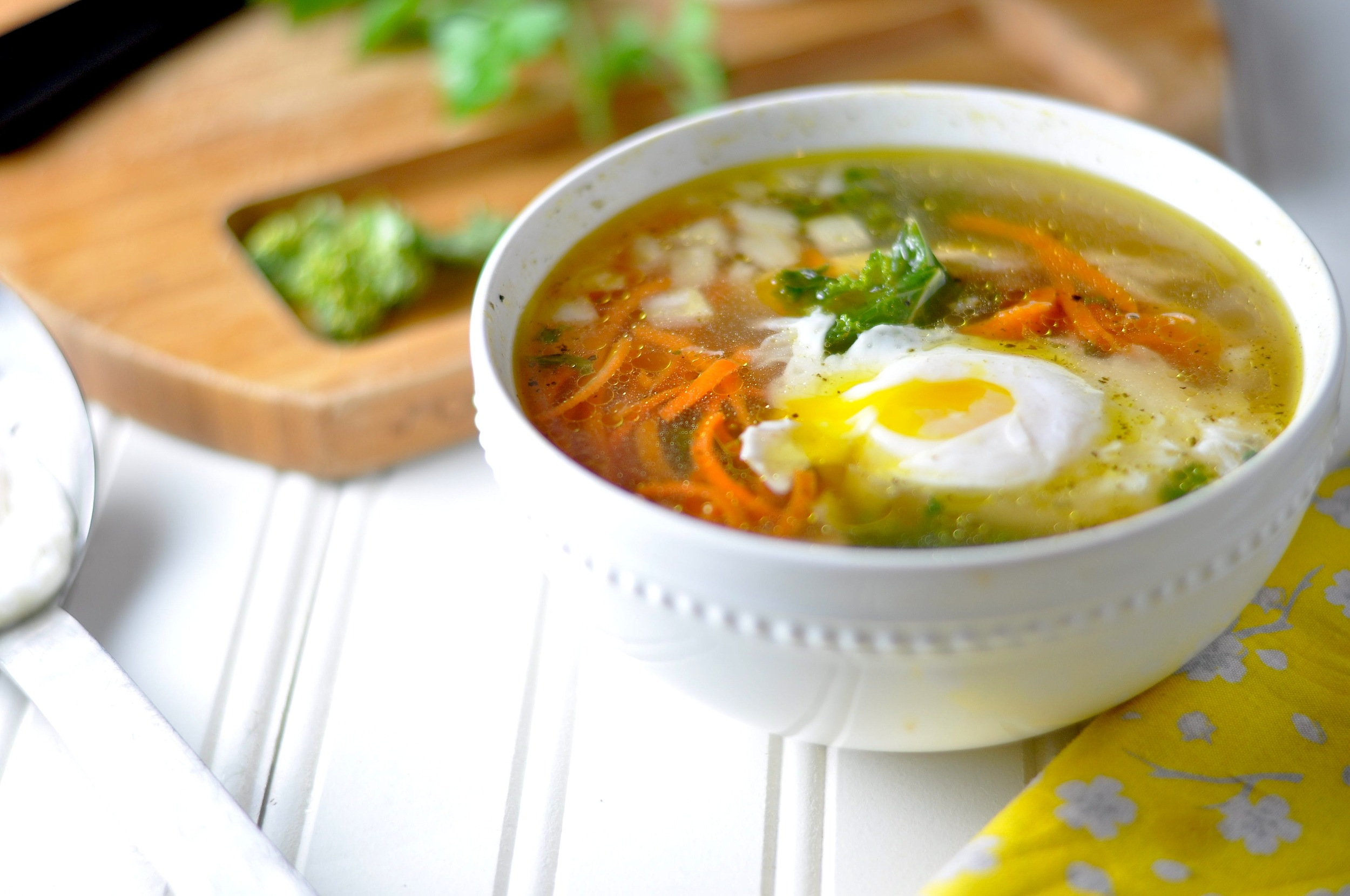 chicken kale soup with poached egg