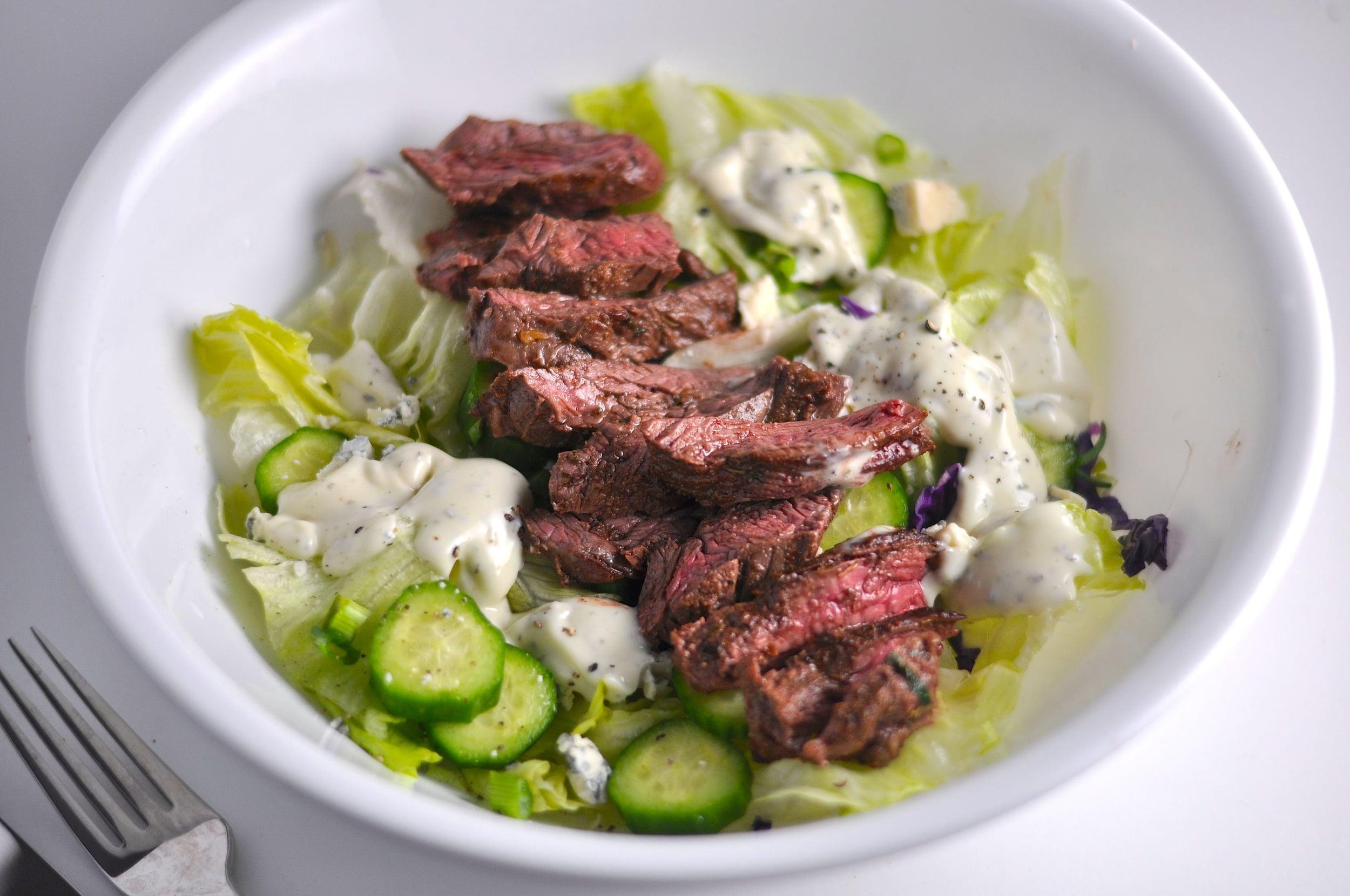low carb steak and blue salad
