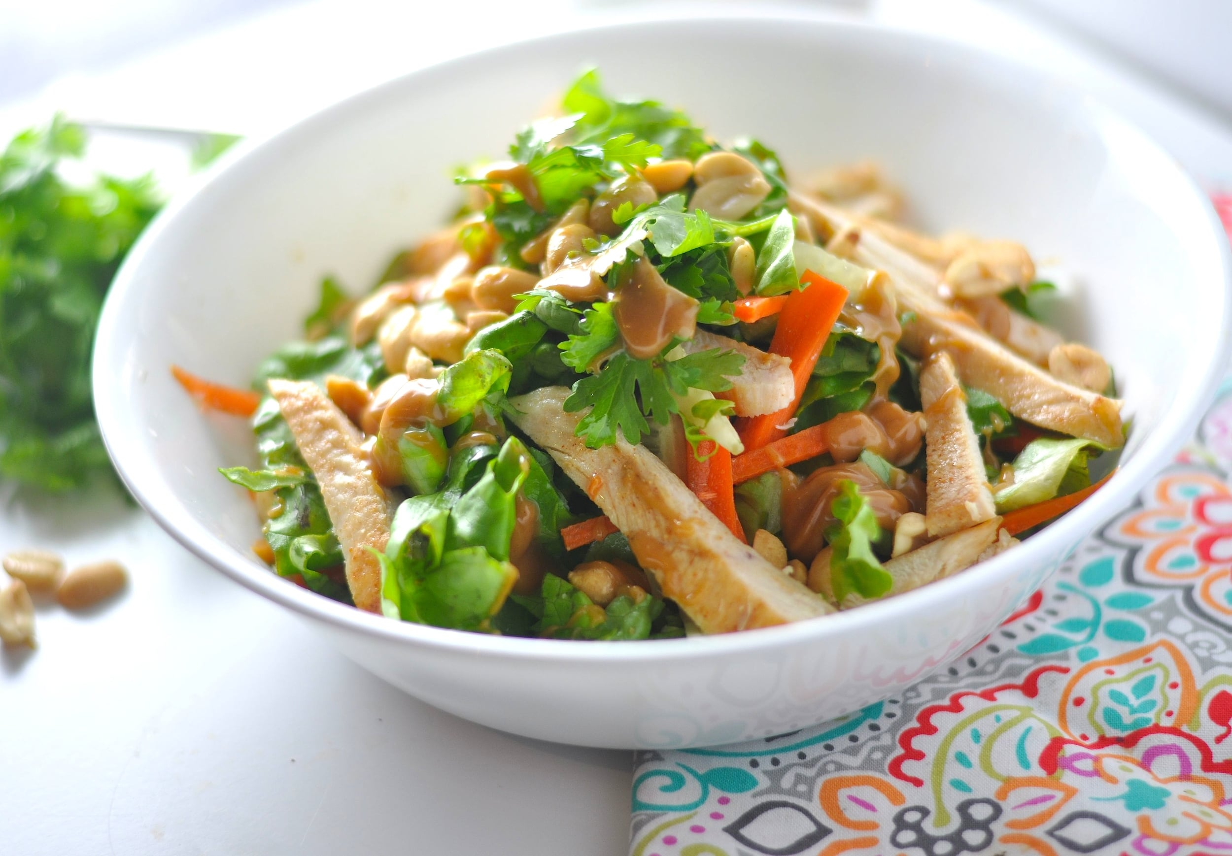 Low Carb Thai Chopped Salad with Creamy Peanut Dressing