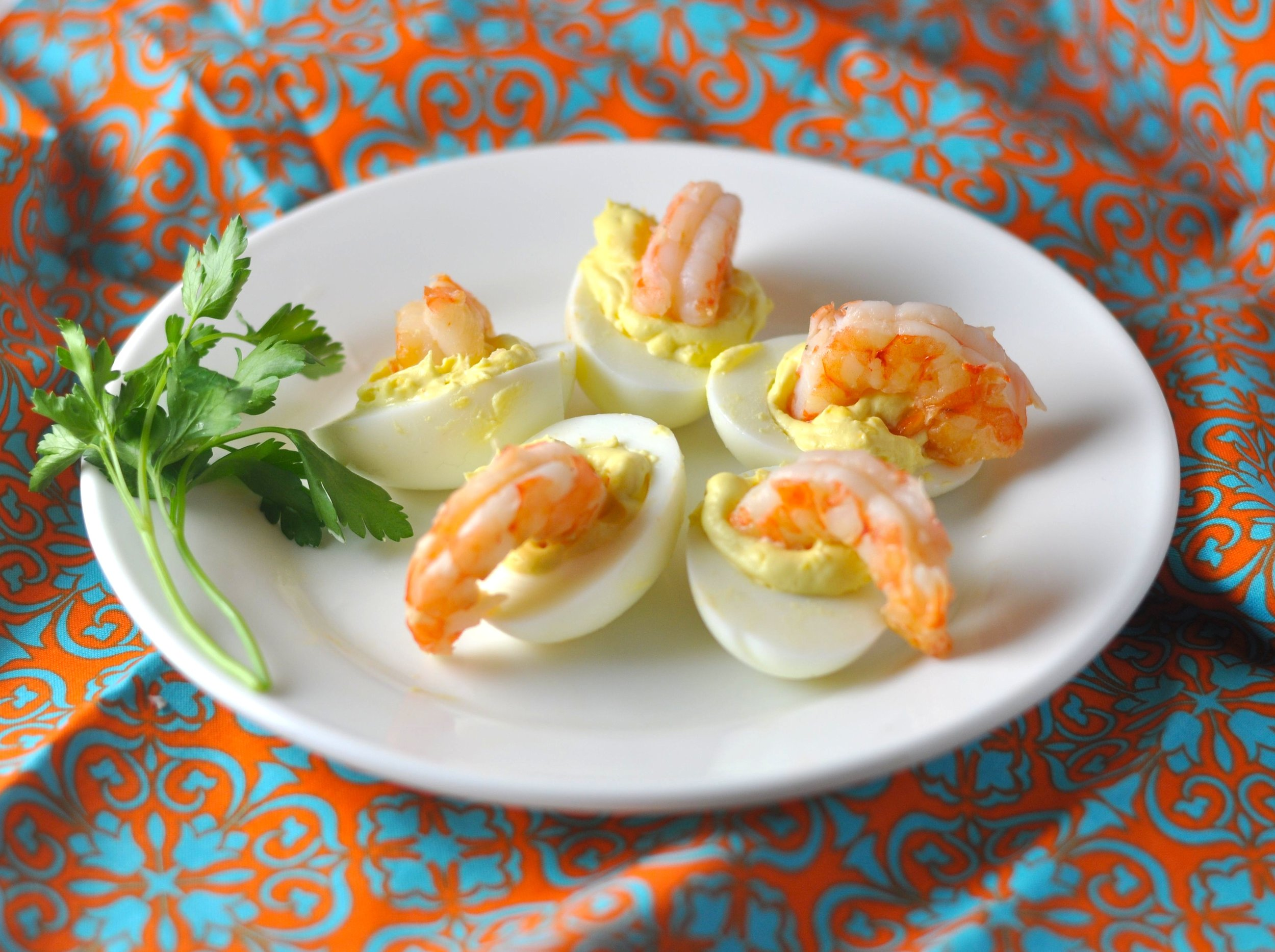shrimpy deviled eggs