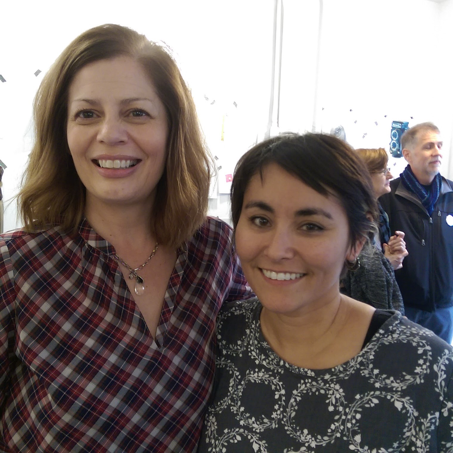 Pictured L-R: A goofy-looking me standing next to one of my idols, Lisa Solomon, during the closing reception at Irving Street Projects. It was such a treat to meet her adorable family and see first-hand her phenomenal work capturing everyone's keepsakes -- a dream come true!