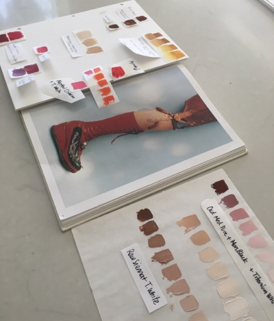 Drawing inspiration from Ishiuchi's photograph of Frida's red leather platform boot to create my color palette to represent the main elements photographed.