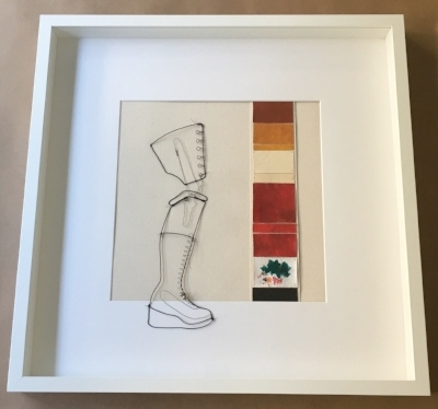 """Finished artwork: """"Adorned Boot"""" - 20.5"""" x 20.5"""" x 1.75"""" frame with acrylic glazing, canvas, acrylics, annealed wire (varying gauges), and jingle bells."""