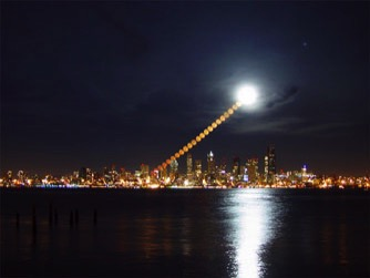 """The Moonrise Over Seattle"". Credit and Copyright, Shay Stevensshay@shay.ws"