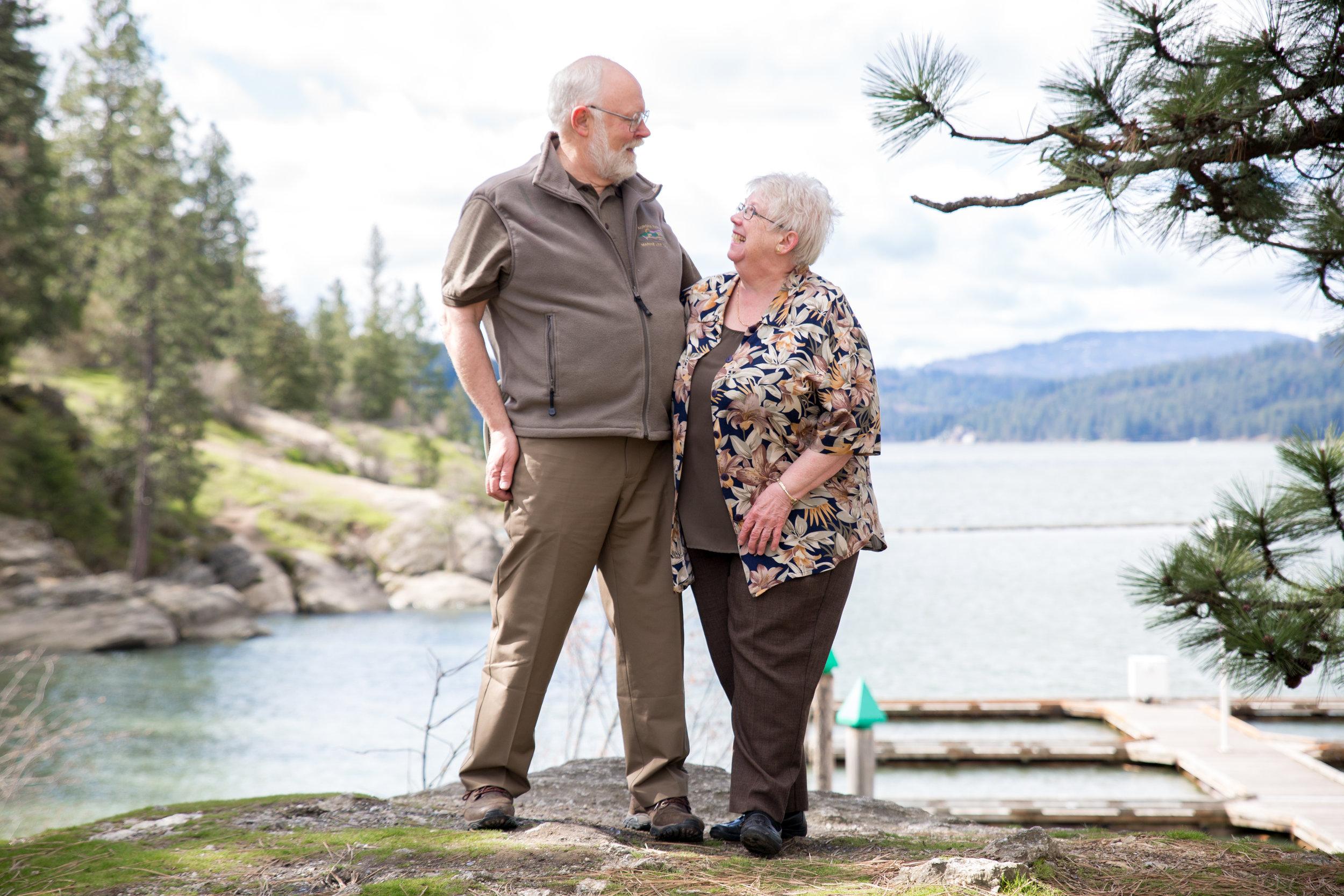 Grandma grandpa smile at shoot in Coeur d' Alene Idaho