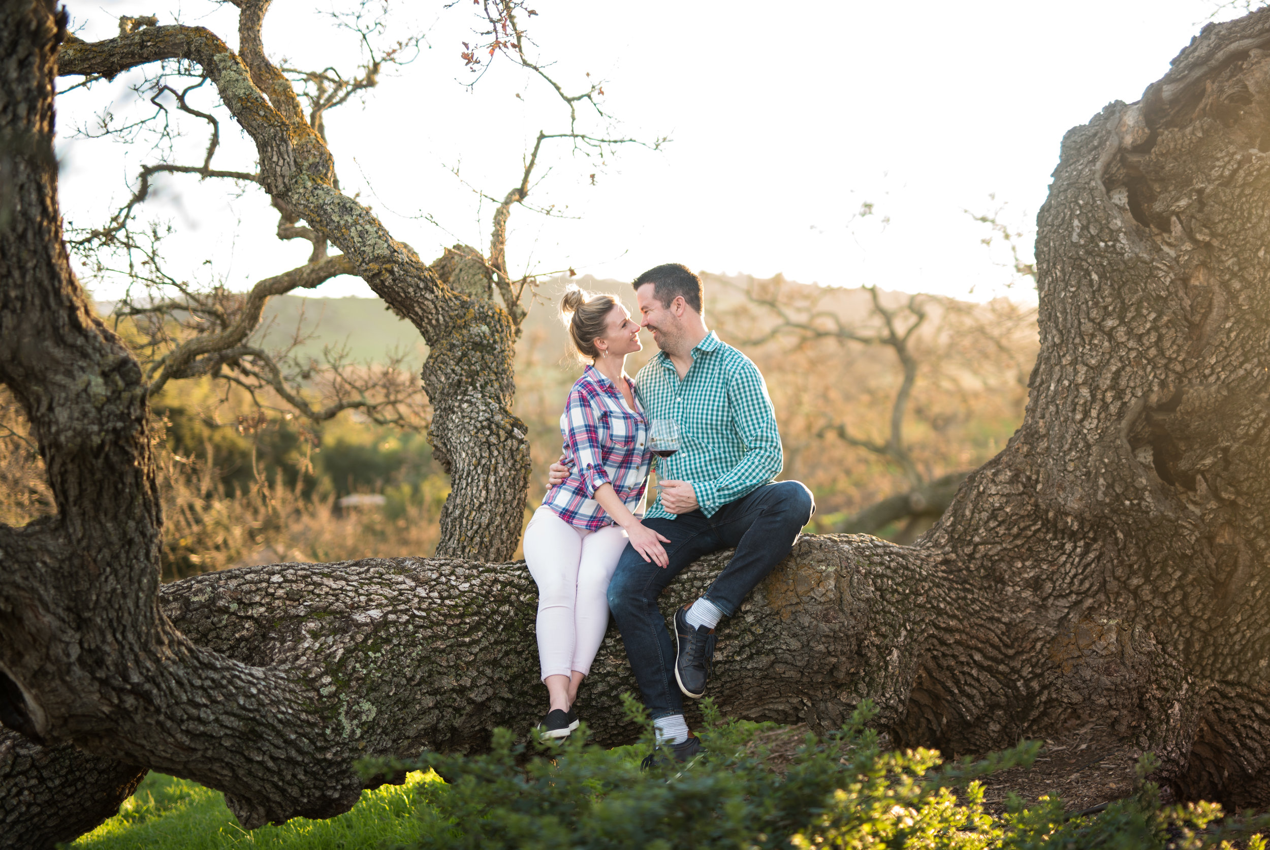 engaged couple smiling in napa valley california