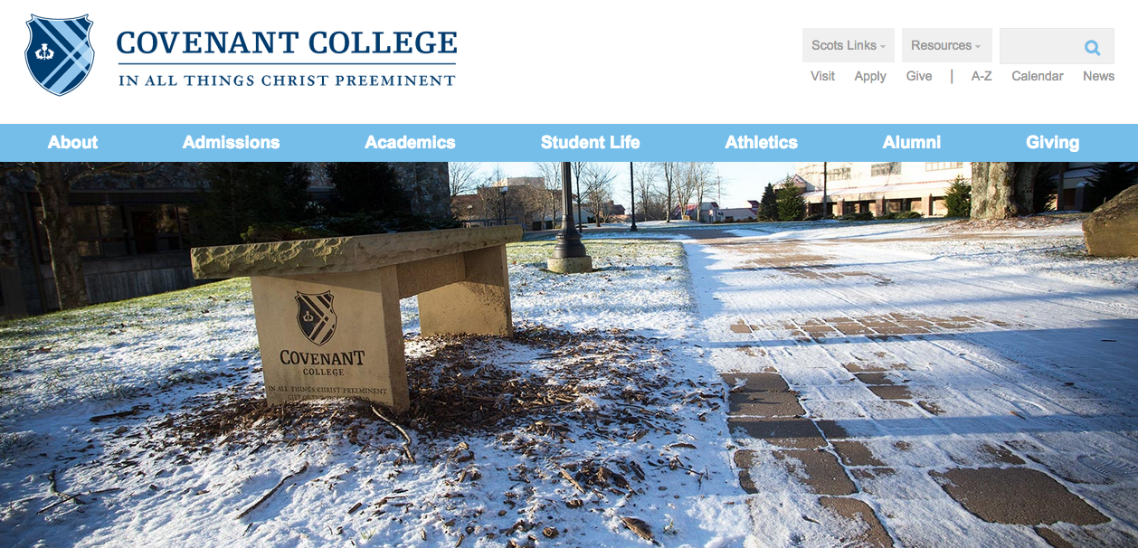 Image of the new Covenant College website