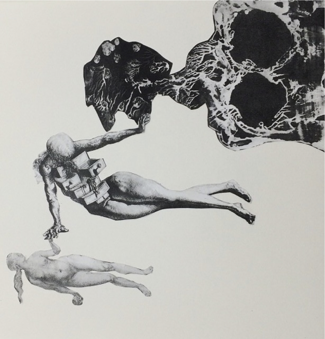 """Covenant artists including junior art majors Sarabeth Kendall and Meghan Earll have been contemplating issues of gender and identity in their respective art practices. In Kendall's """"Volume,"""" pictured above, the artists uses wire to suggest the form of a bra and the implication of its taboo nature. Pictured below, a partial of Earll's collage titled """"Adam and Eve"""" takes images from art history to explore a biblical concept of identity. Photos taken with permission from the artists' Instagrams."""