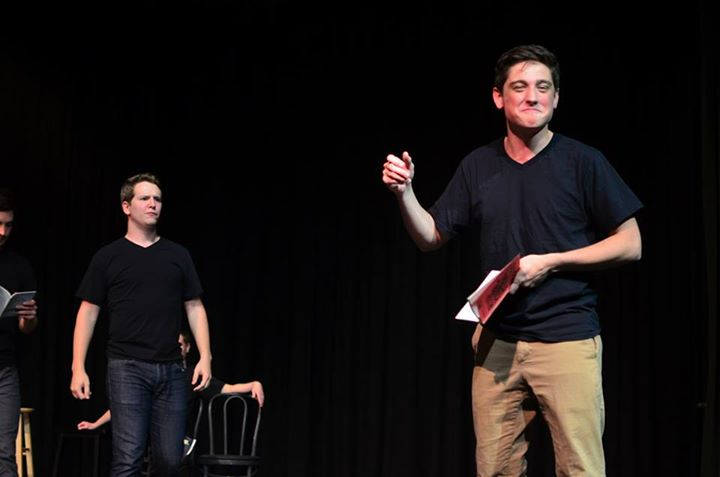 Jamison Shimmel and Taylor Kelly performing at Laugh Track, photo by Abby Whisler