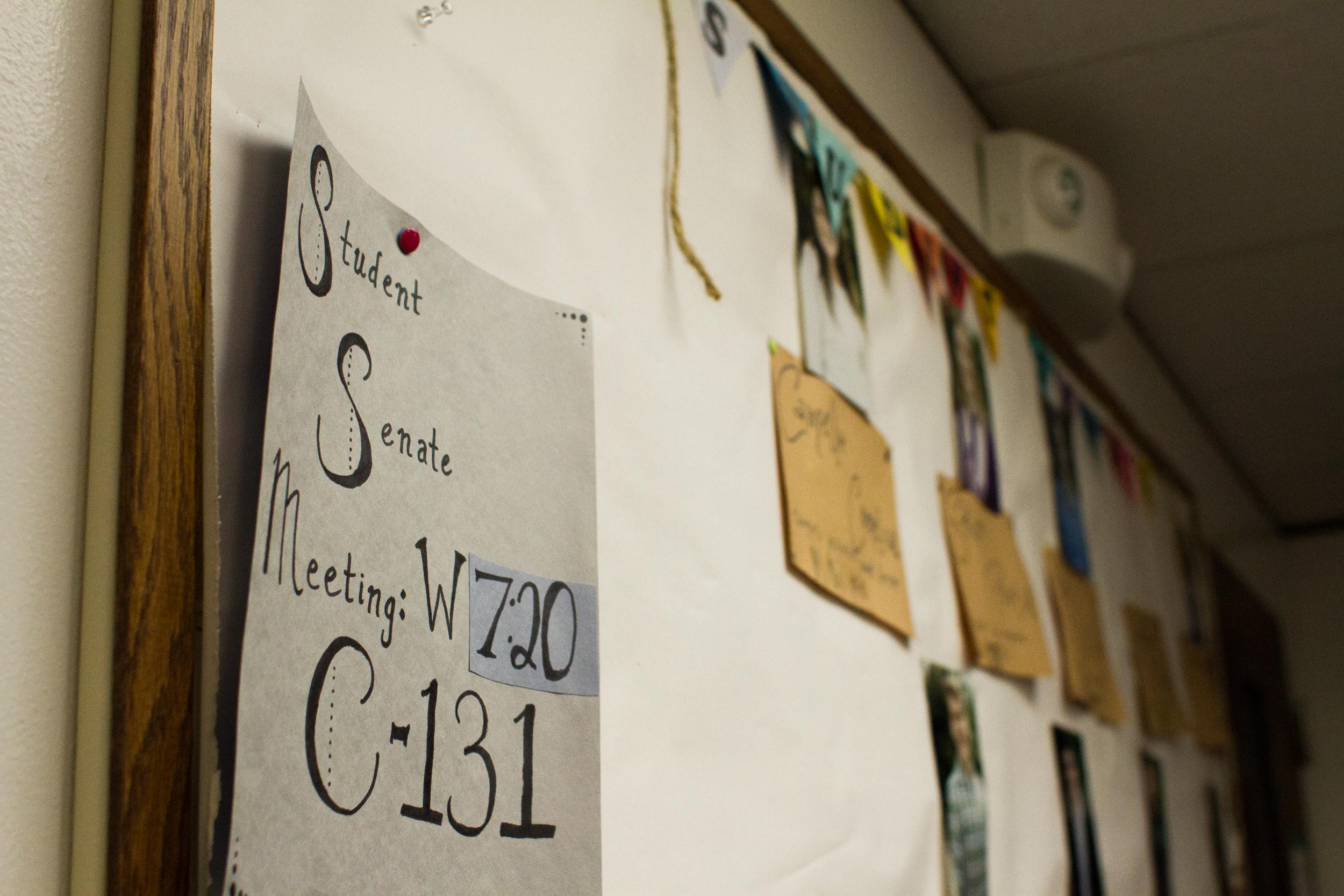 Student Senate Bulletin Board. Photo by Abby Whisler.