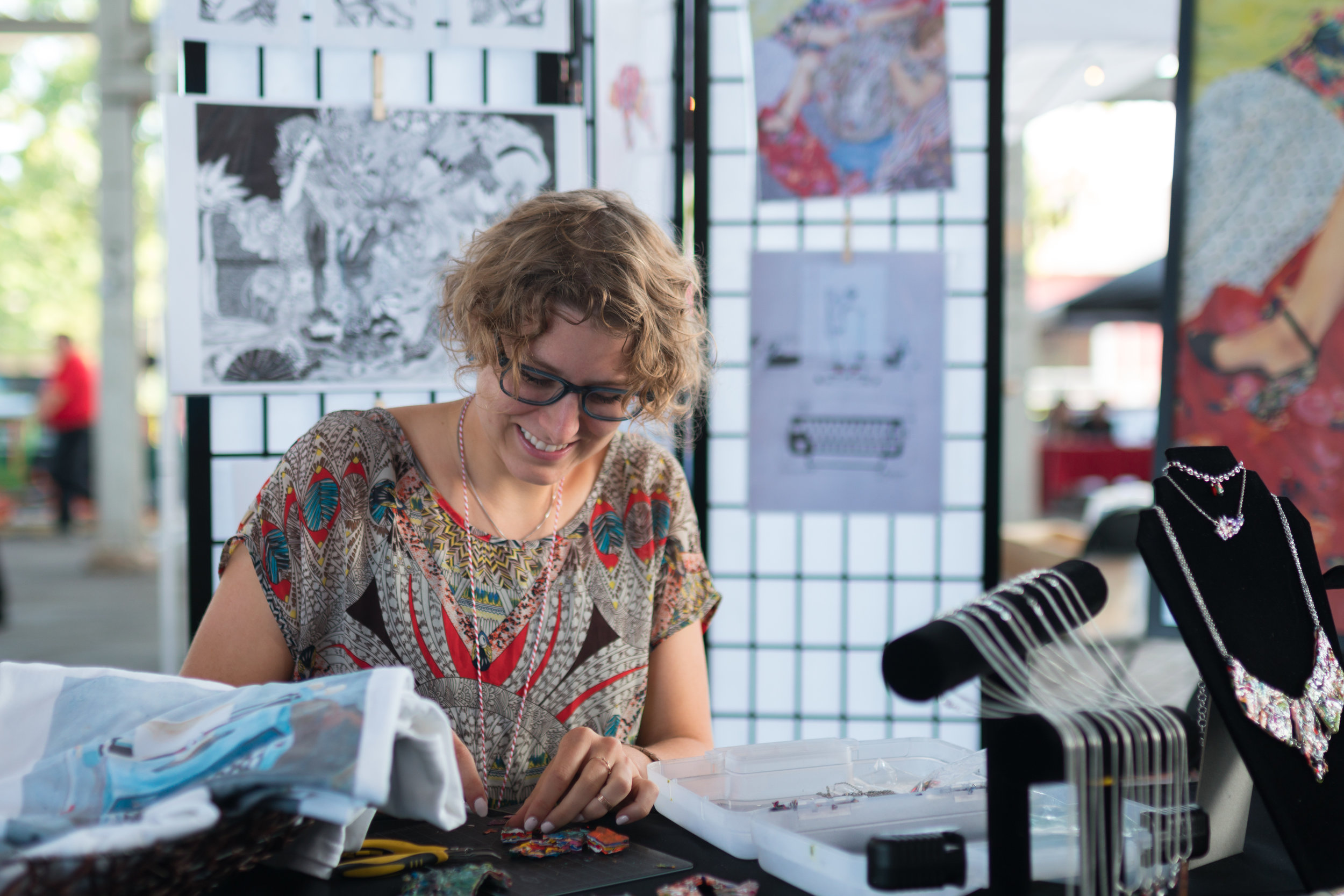 Senior art major Abi Ogle was a vendor at this year's Mini Maker Faire. Photo by Reed Schick.