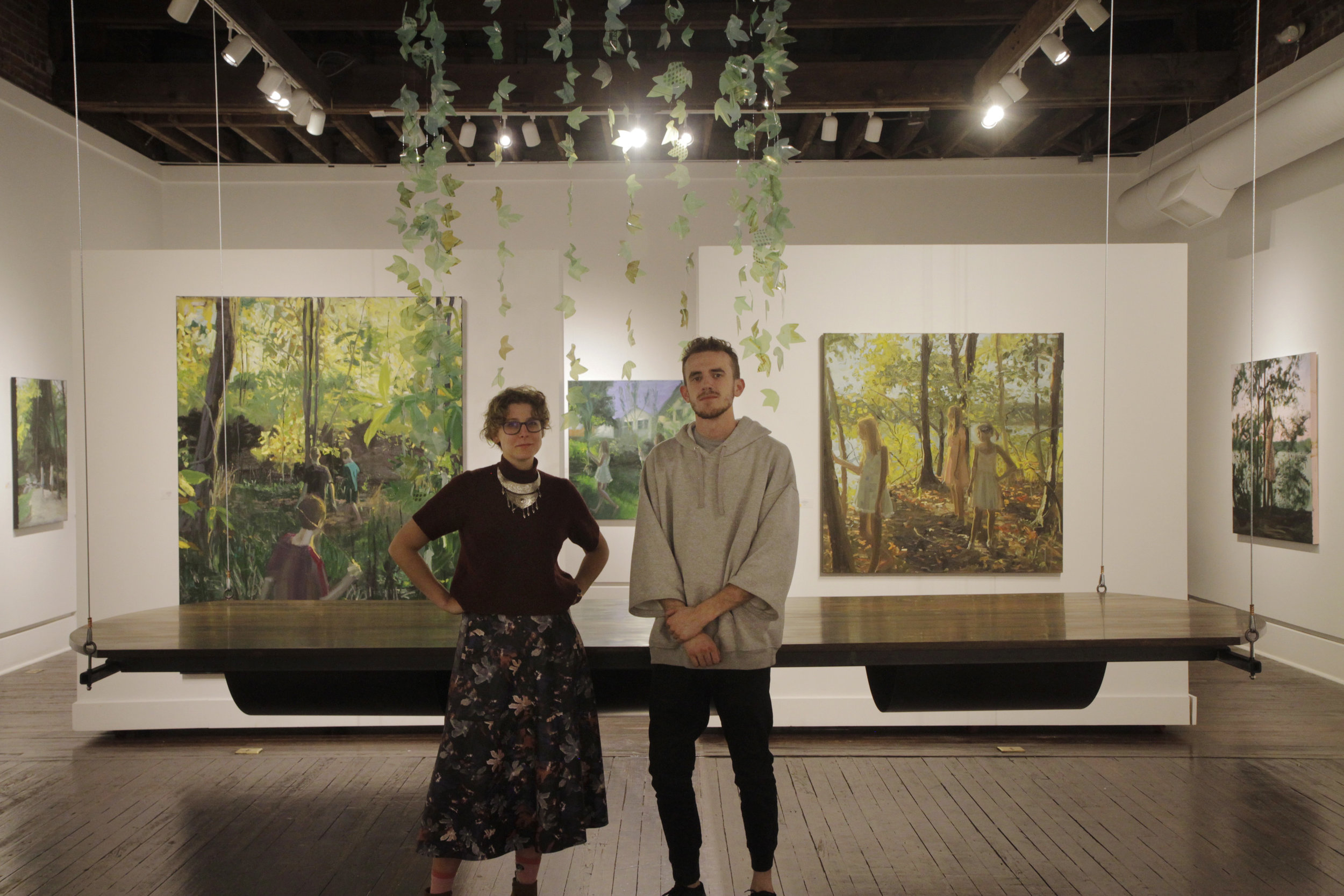 Covenant Art majors Abi Ogle and Caleb Smith at the Harrison Center for the Arts. (Photo by Caleb Smith.)