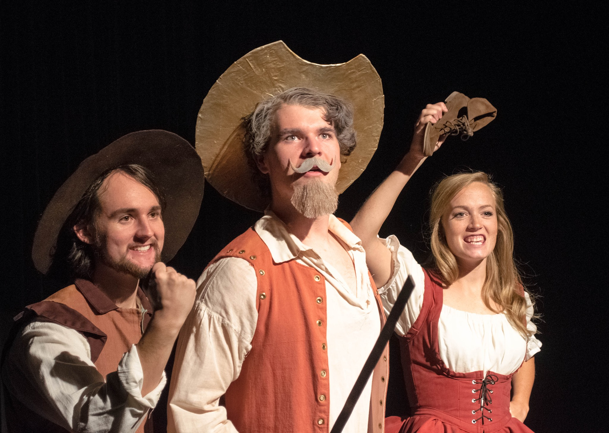 From left to right, Jack Edling as Sancho Panza, William Darby as Don Quixote, and Sammie Brown as Aldonza. (Photo courtesy of the Covenant College Theatre Department.)