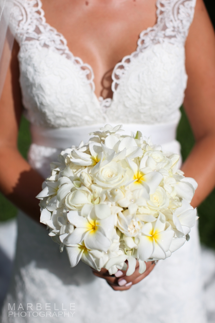 Marbelle Photography  White Plumeria Bouquet - Season: May - November