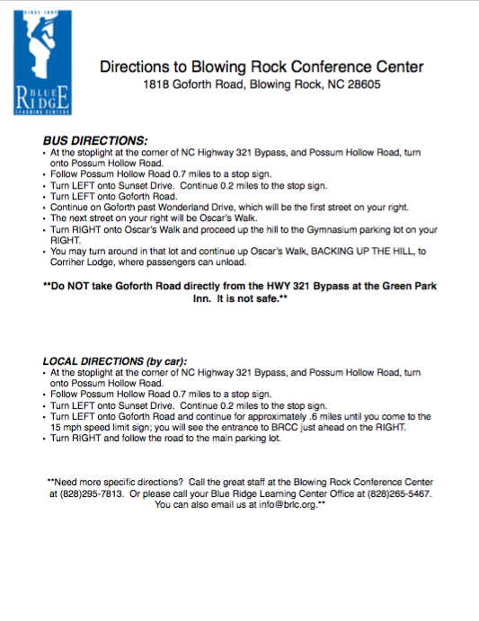 Directions to BRCC  (Click to Download PDF)