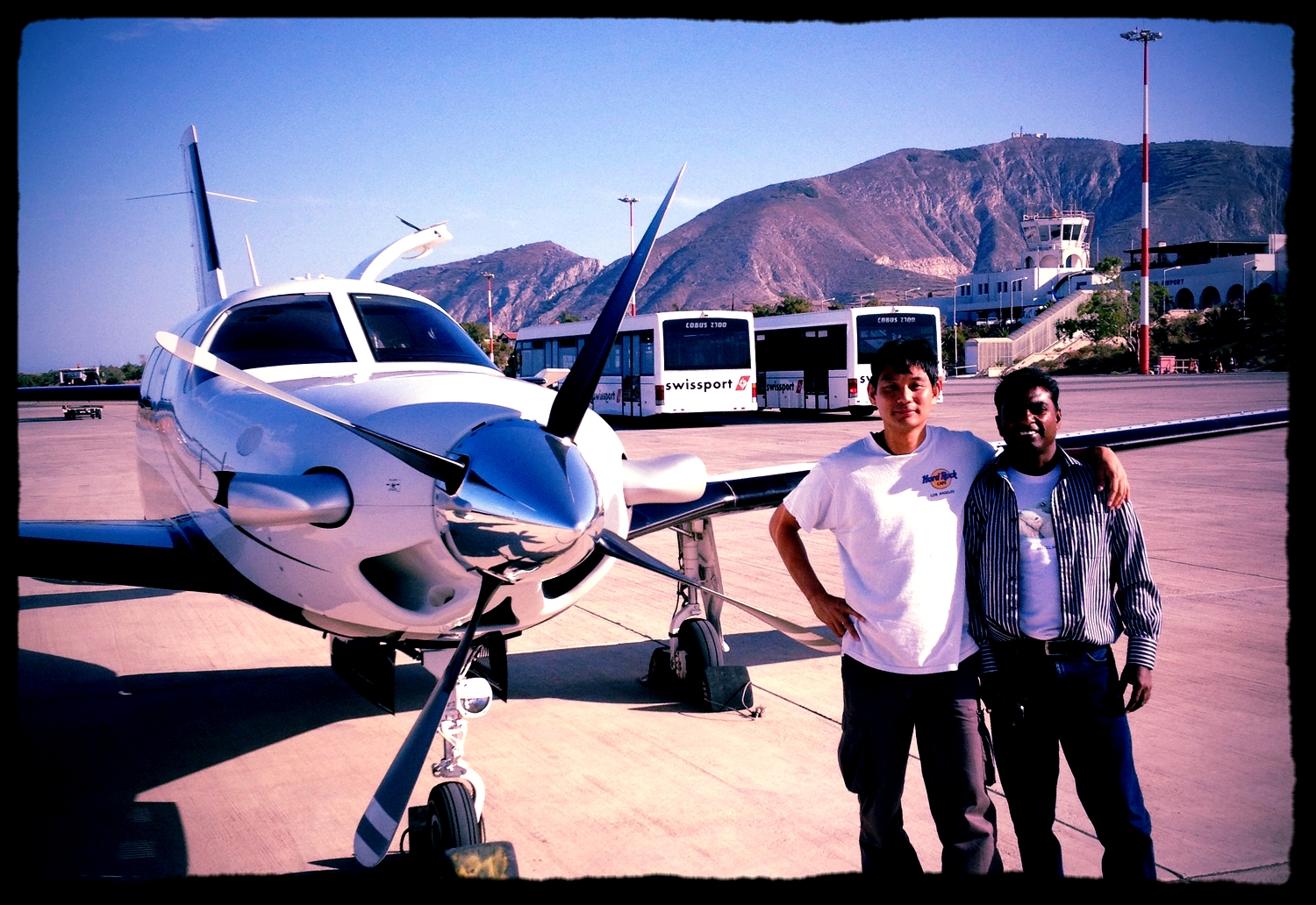 WOA delivery pilot with aircraft owner in Santorini, Greece. Enroute to Malaysia.