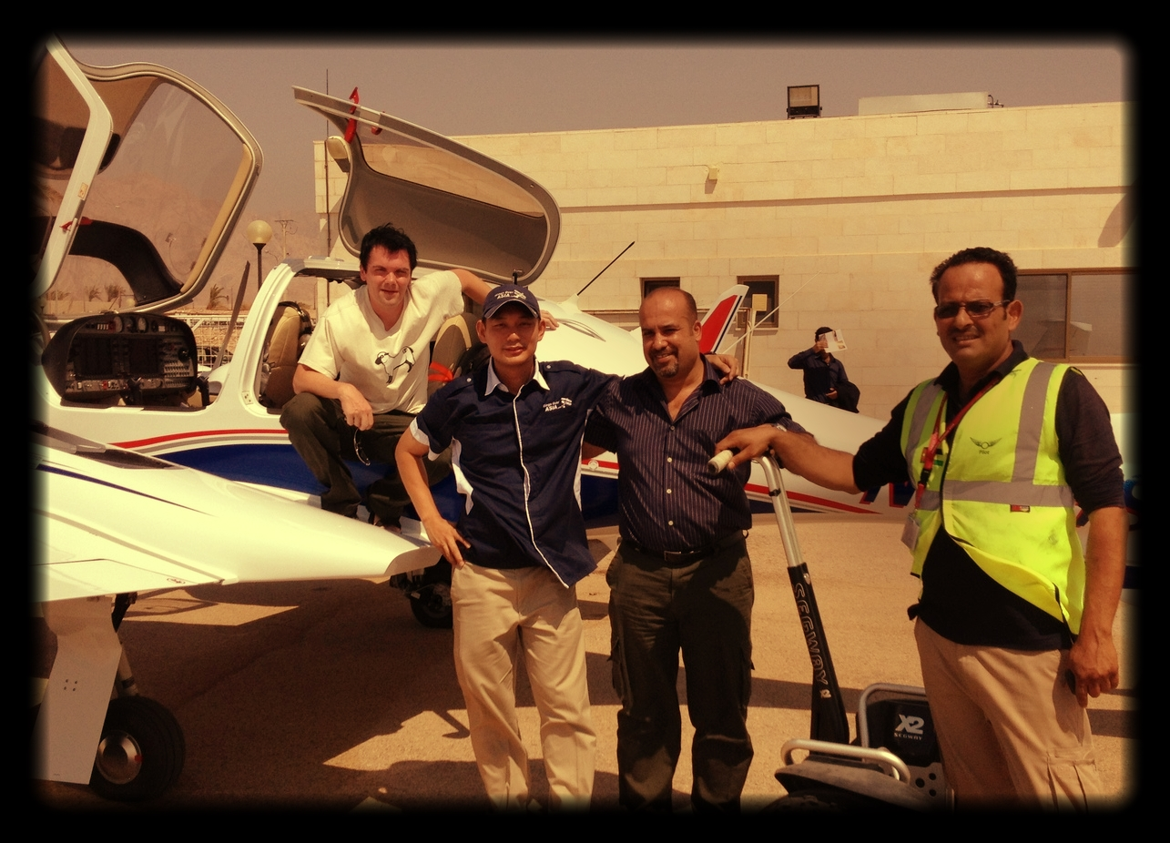 Brand new DA42NG in transit at Jordan enroute ferrt flight back to Singapore with owner