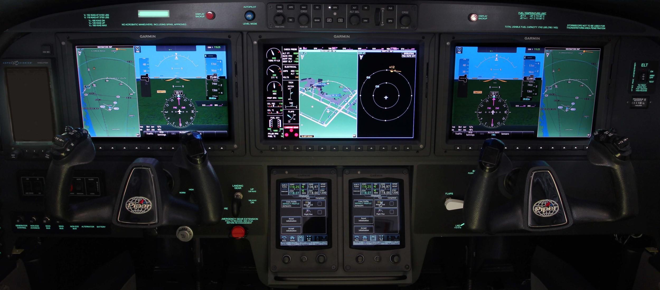 The latest Garmin G3000 touchscreen integrated flight deck