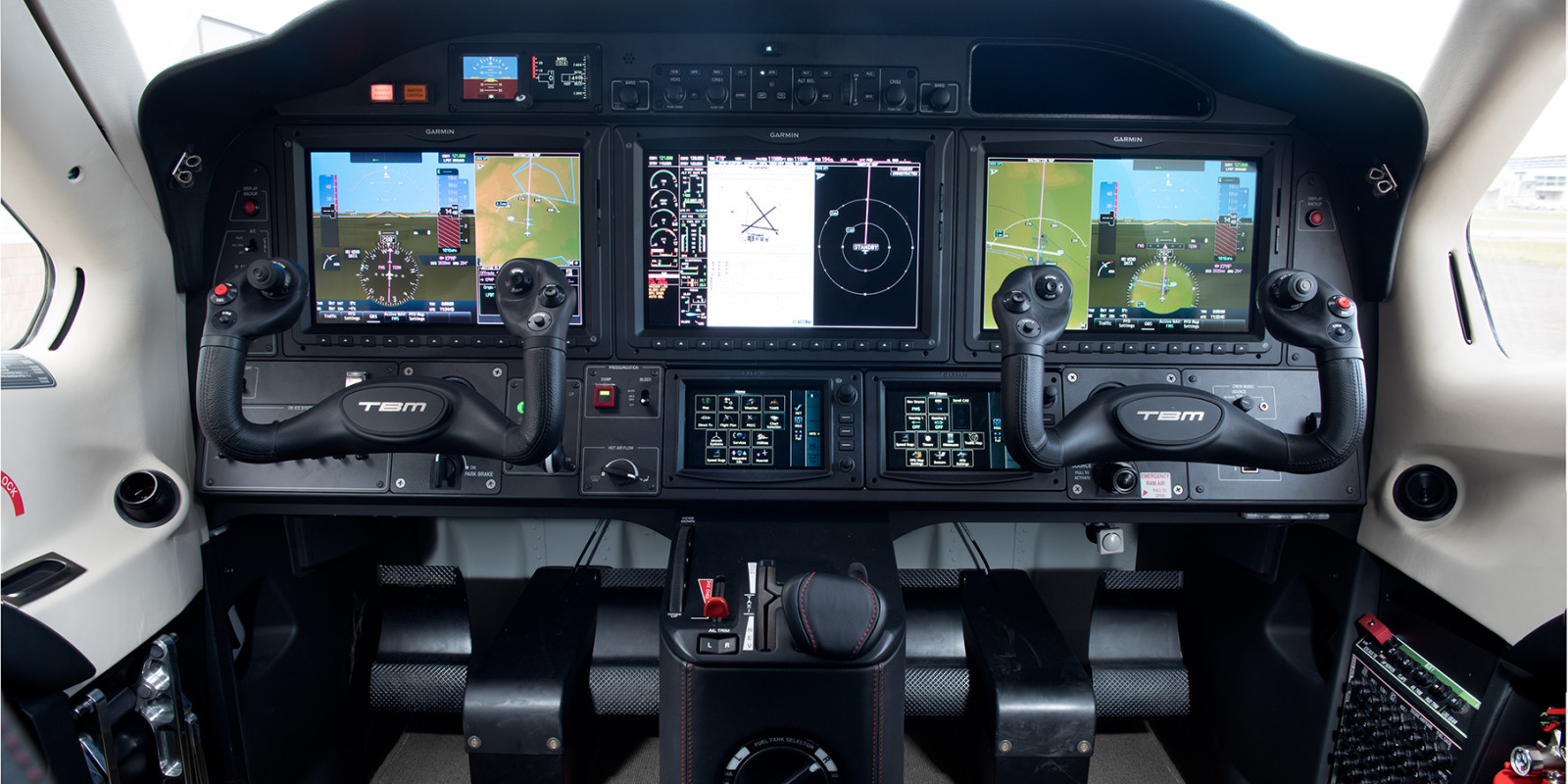 The latest and greatest in integrated glass cockpit avionics with redundancies for safety and real-time satellite data up-links