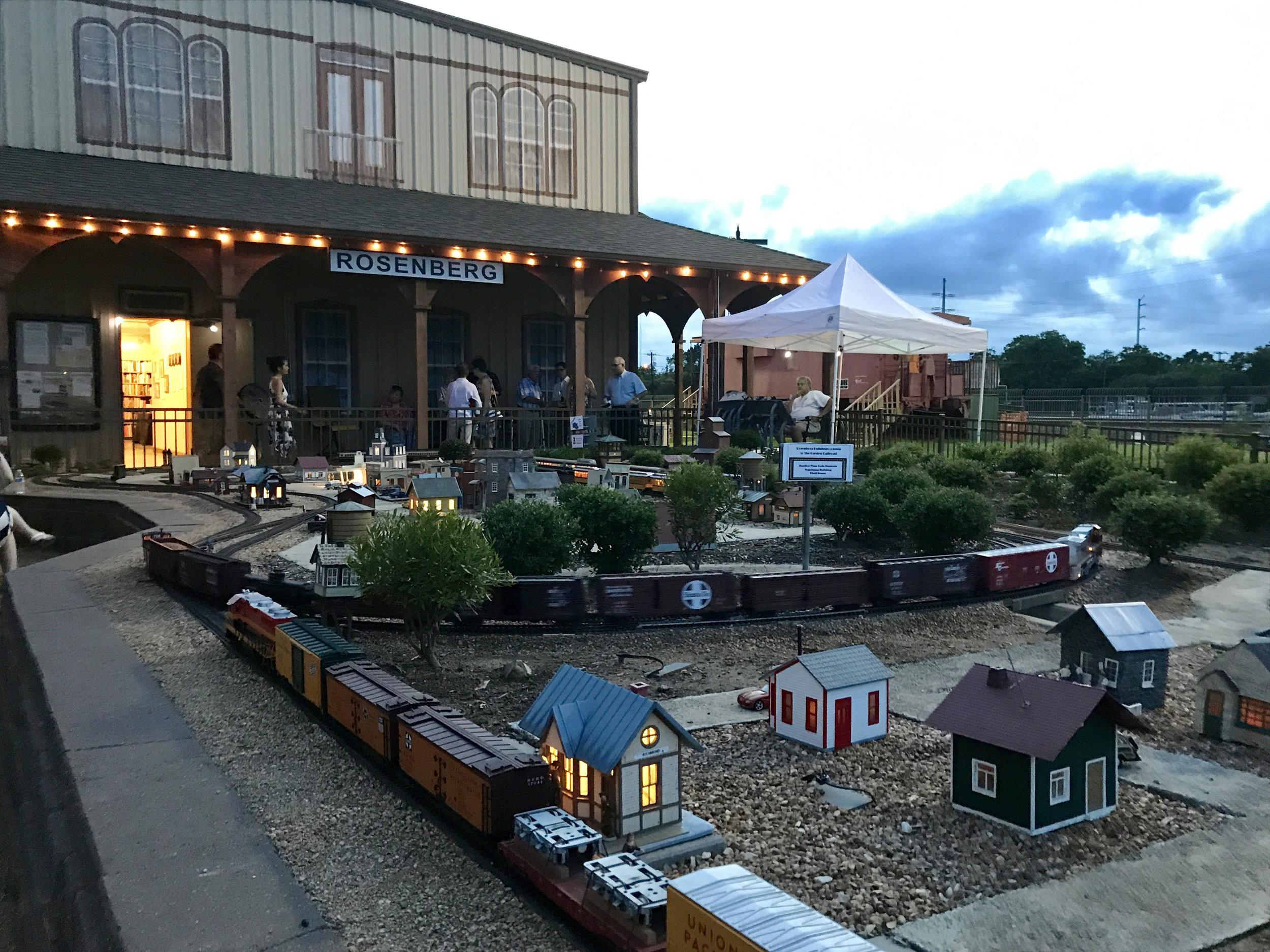 Garden Railroad lit up at night