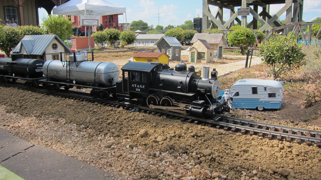 Steam engines running on RRM's Garden Railroad, a family favorite!