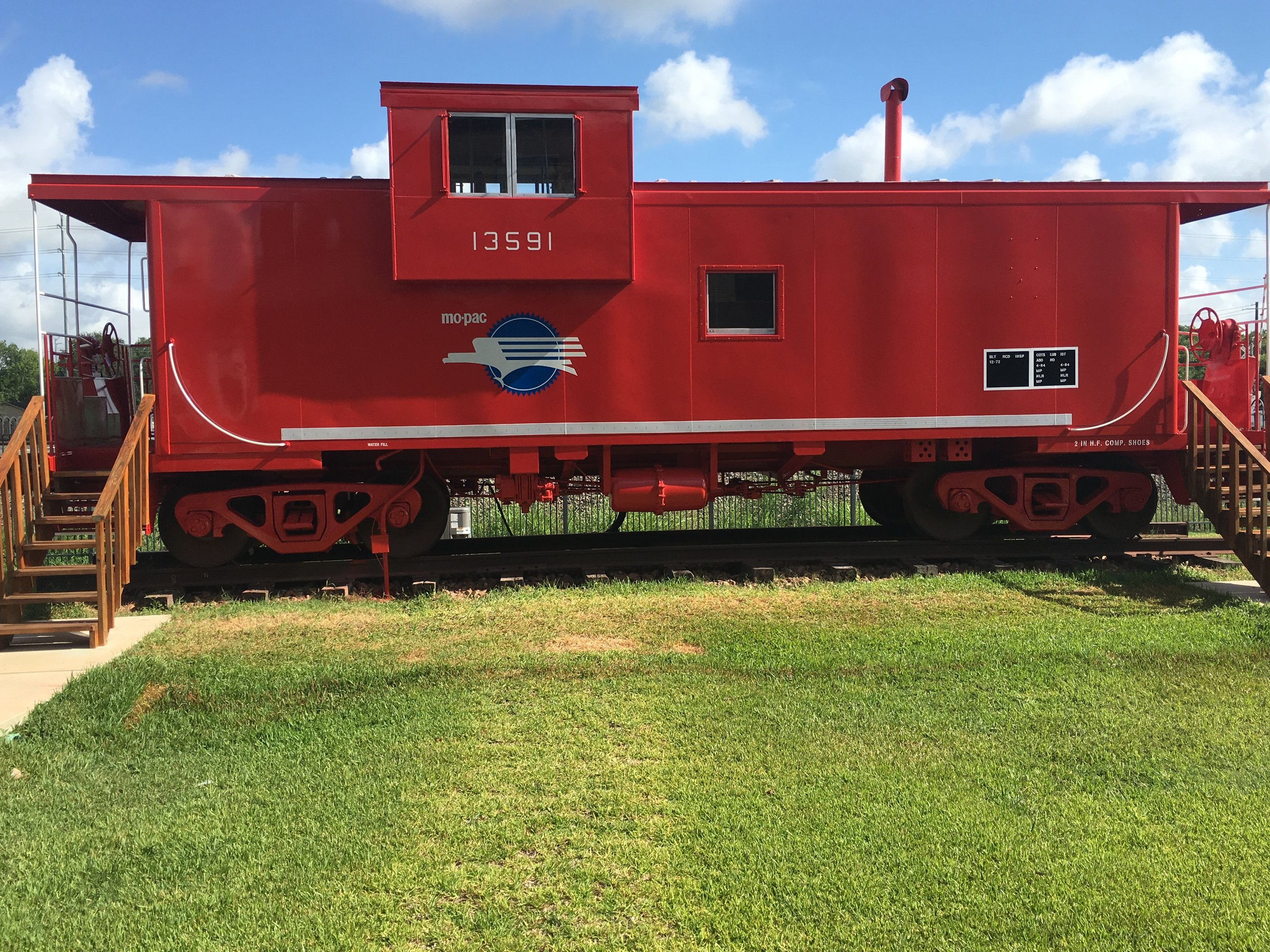 Freshly painted MoPac Caboose!