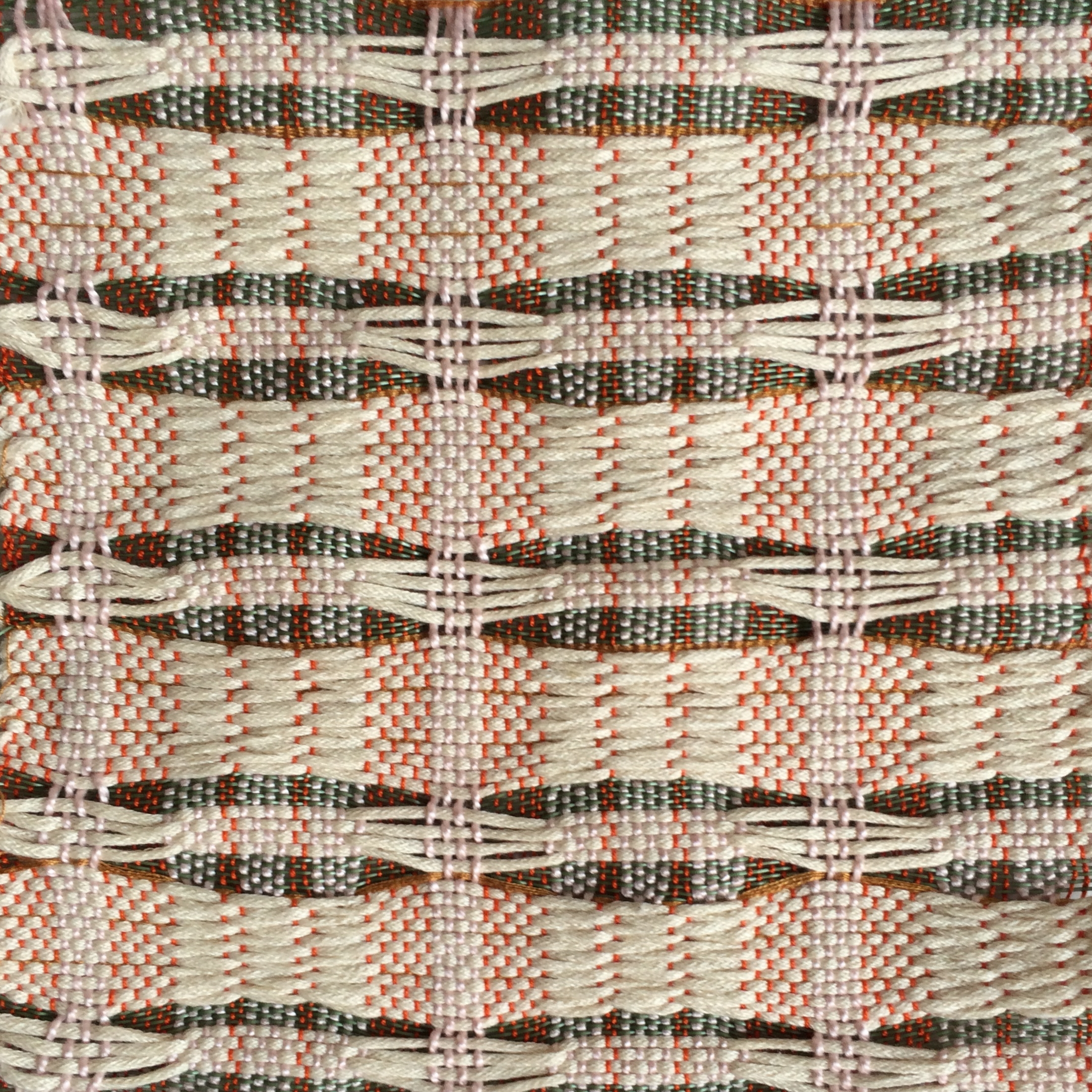 Woven on an 8-Harness Loom.  Cotton, plastic coated nylon.